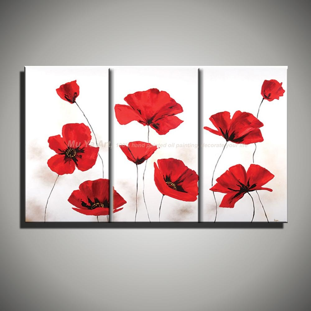 Aliexpress : Buy Hand Painted Modern Wall Decor Painting 3 For Red Poppy Canvas Wall Art (Image 3 of 20)