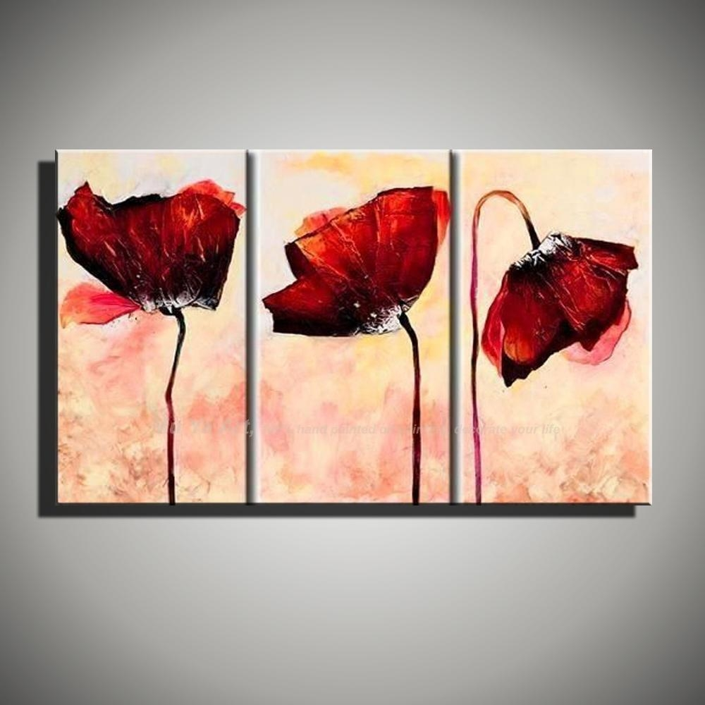 Aliexpress : Buy Hand Painted Modern Wall Decor Painting 3 In 3 Piece Abstract Wall Art (Image 8 of 20)