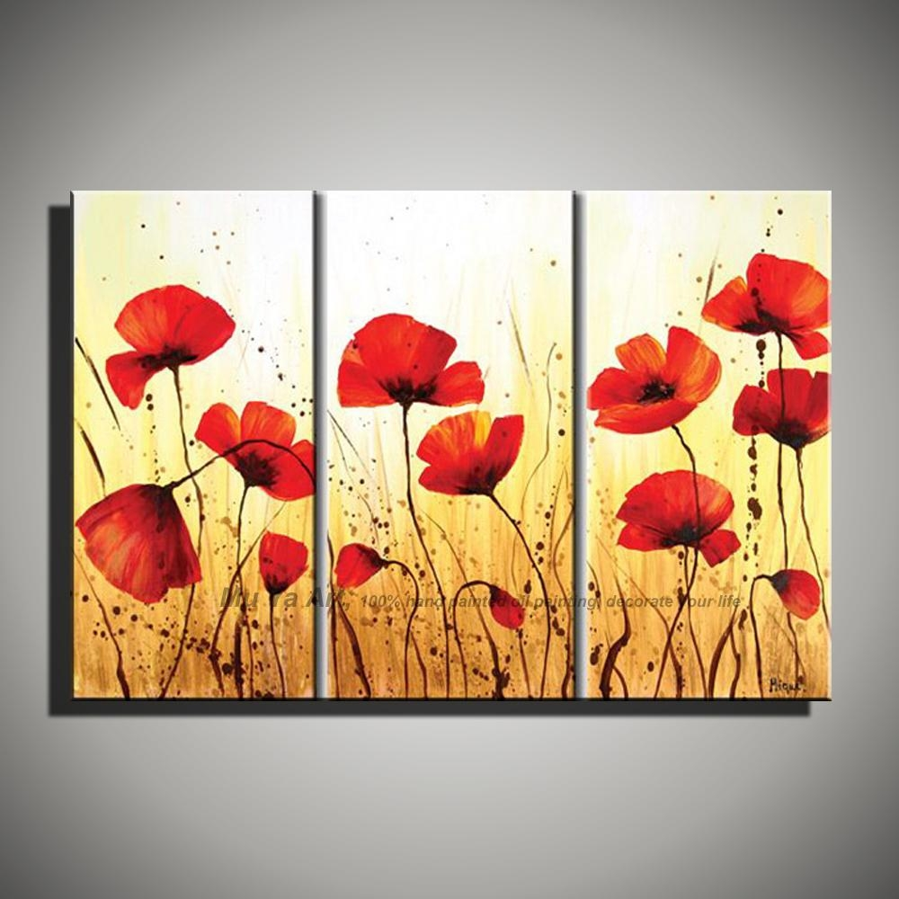 Aliexpress : Buy Hand Painted Modern Wall Decor Painting 3 Pertaining To Red Poppy Canvas Wall Art (Image 5 of 20)