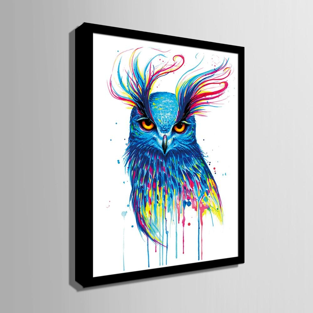 Aliexpress : Buy Hd Colored Owl Framed Canvas Art Print Regarding Owl Framed Wall Art (View 2 of 20)