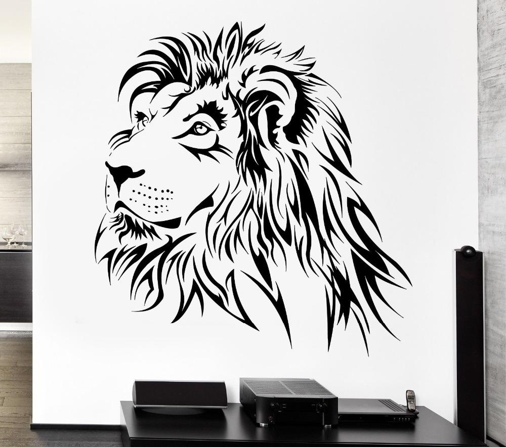 Aliexpress : Buy Home Decoration Lion Wall Decal Tribal Zoo With Regard To Lion Wall Art (Image 4 of 20)