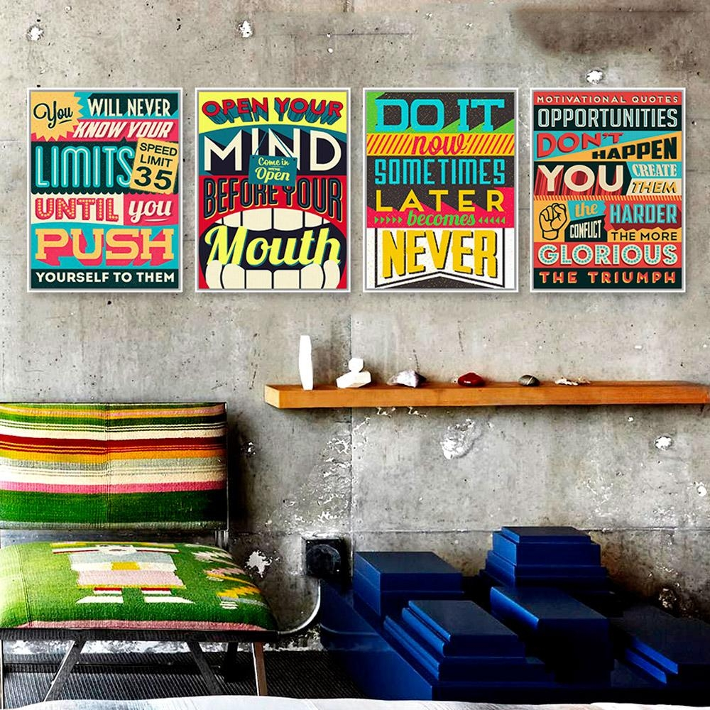 Aliexpress : Buy Inspiration Typography Motivation Quotes Inside Large Retro Wall Art (View 13 of 20)