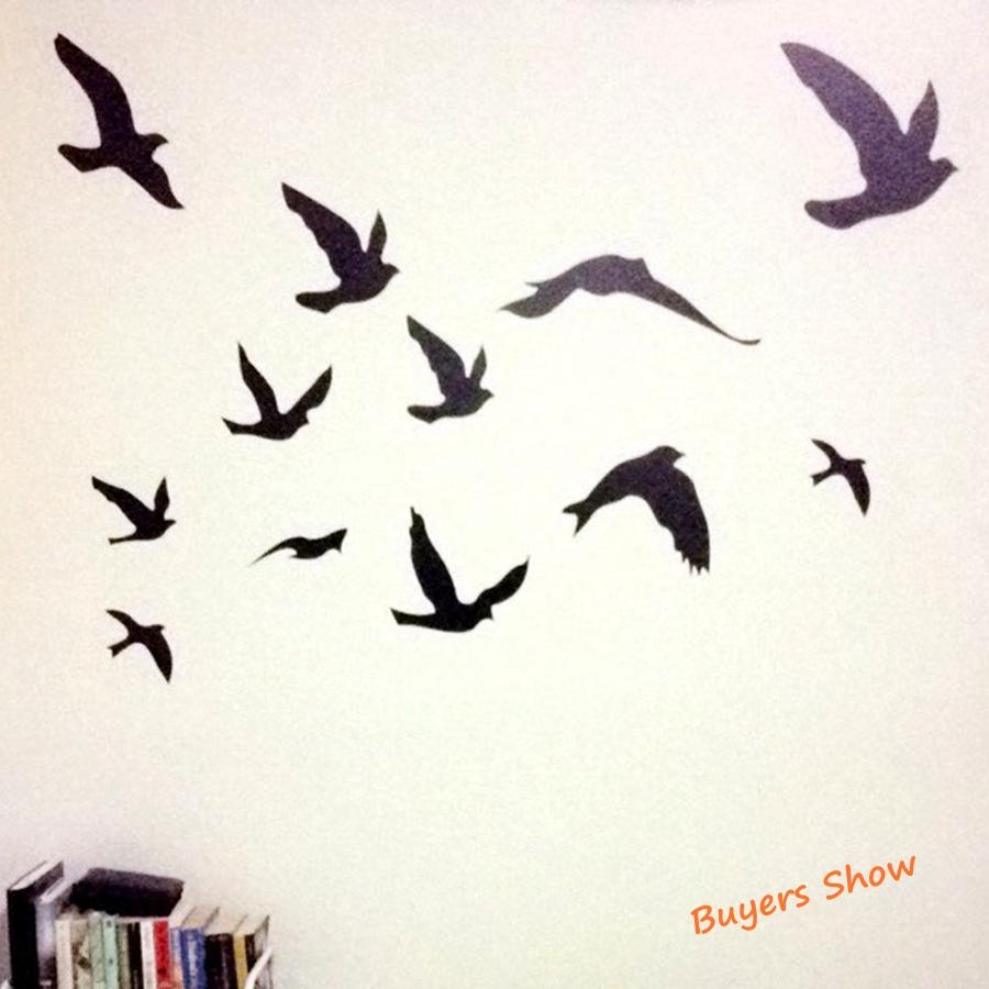 Aliexpress : Buy Large Size Free Shipping Pretty Birds Flying Inside Flock Of Birds Wall Art (Image 1 of 20)