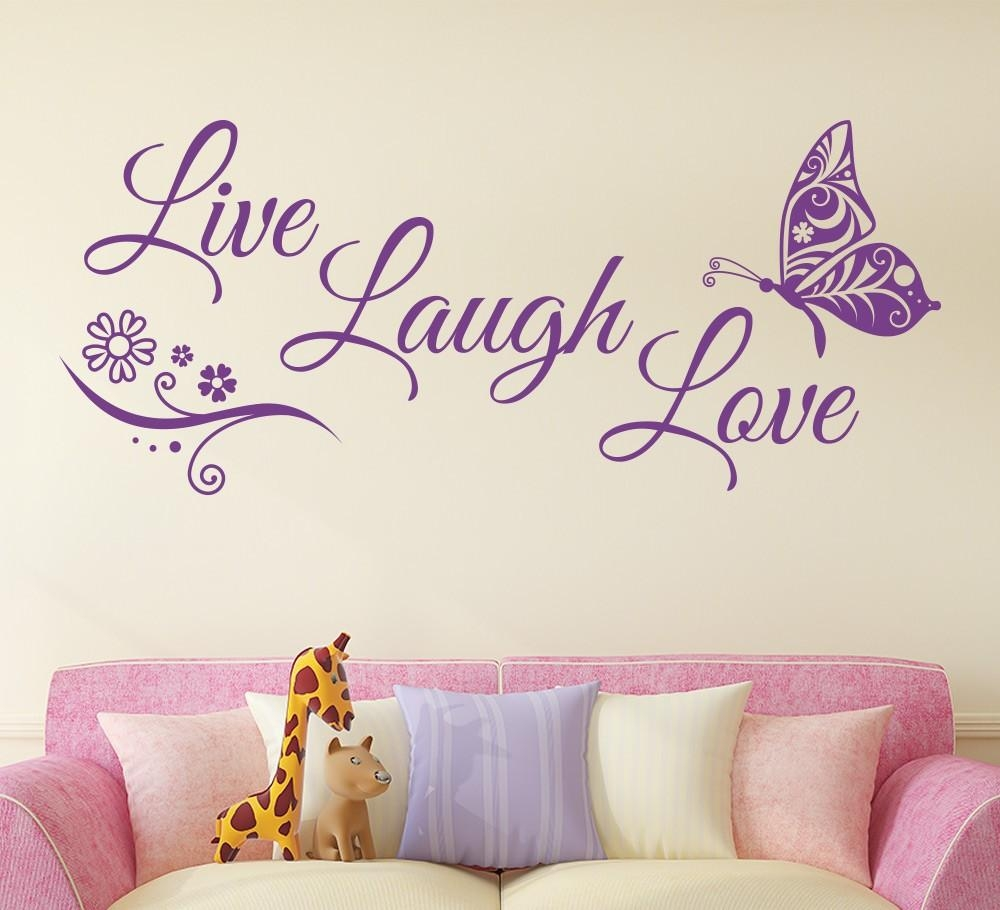 Aliexpress : Buy Live Laugh Love Butterfly Flower Wall Art Within Live Love Laugh Metal Wall Art (Image 1 of 20)