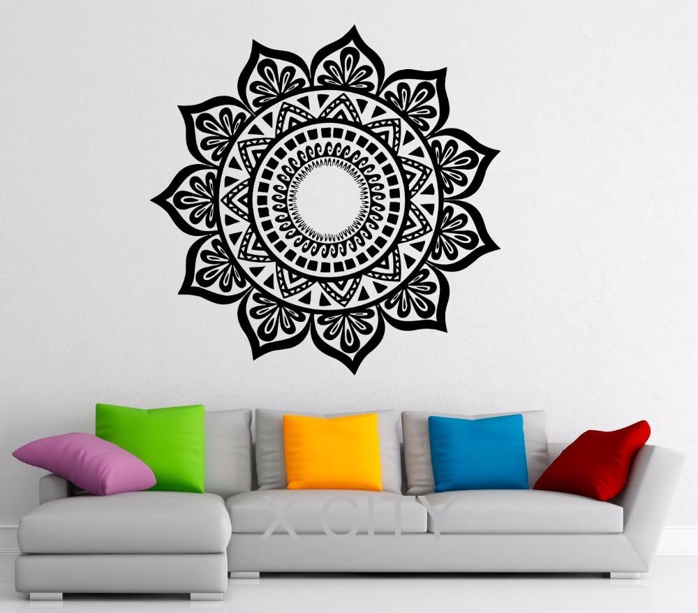 Aliexpress : Buy Mandala Stickers Indian Pattern Lotus Flower Pertaining To Pattern Wall Art (Image 3 of 20)