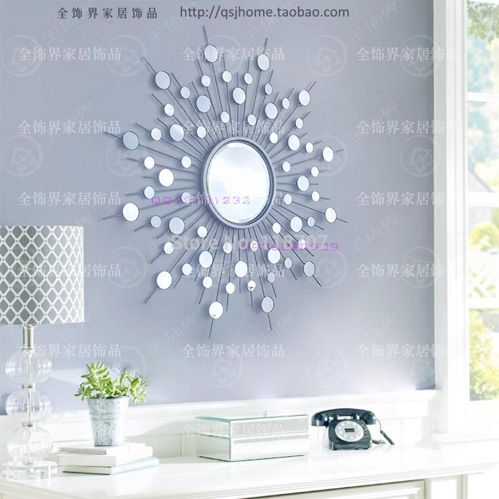 Aliexpress : Buy Metal Wall Mirror Decor Modern Mirrored Wall Throughout Modern Mirror Wall Art (Image 3 of 20)