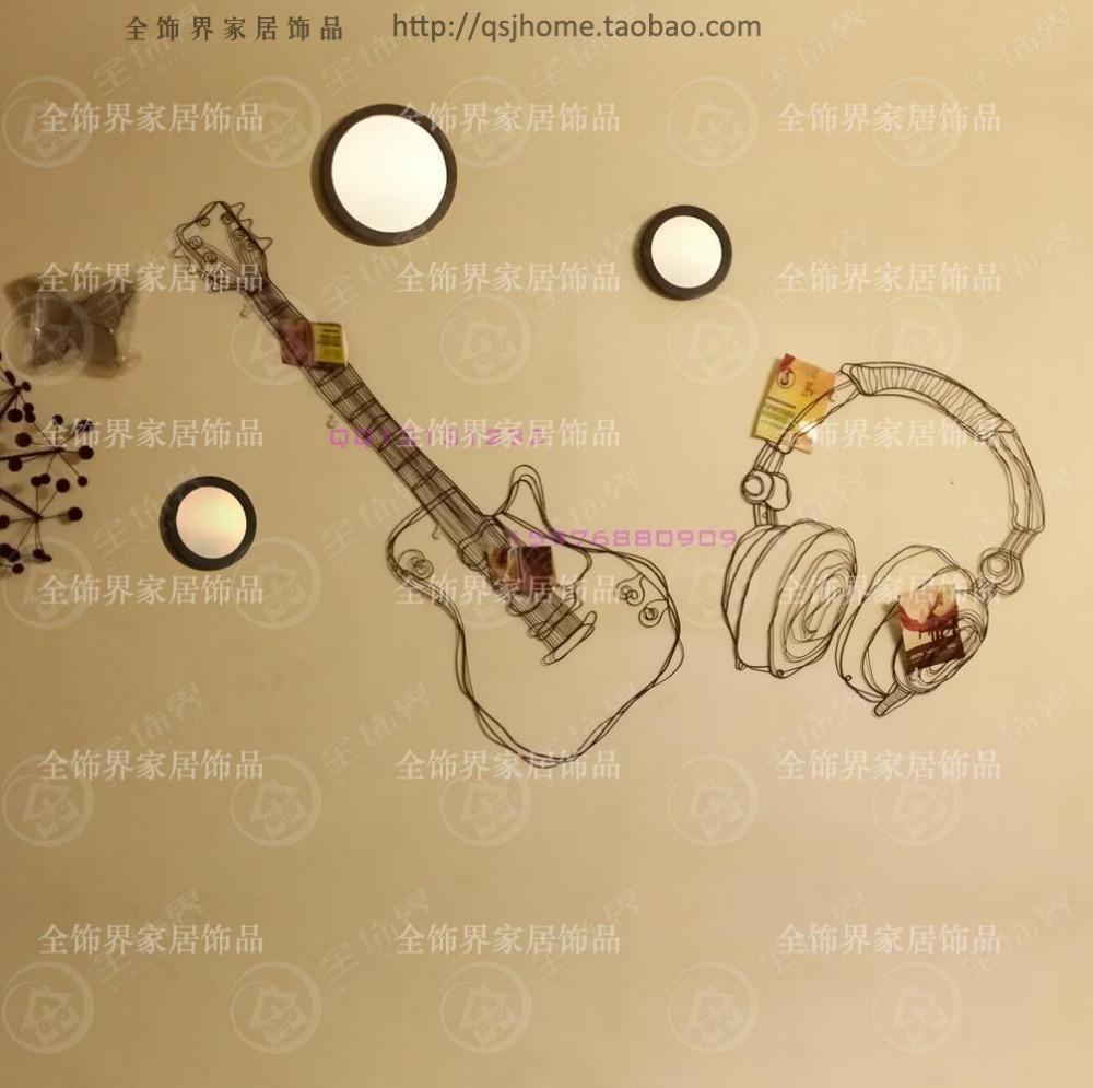 Aliexpress : Buy Metal Wire Guitar Wall Decor Art Music Wall Within Wire Wall Art Decors (Image 3 of 20)