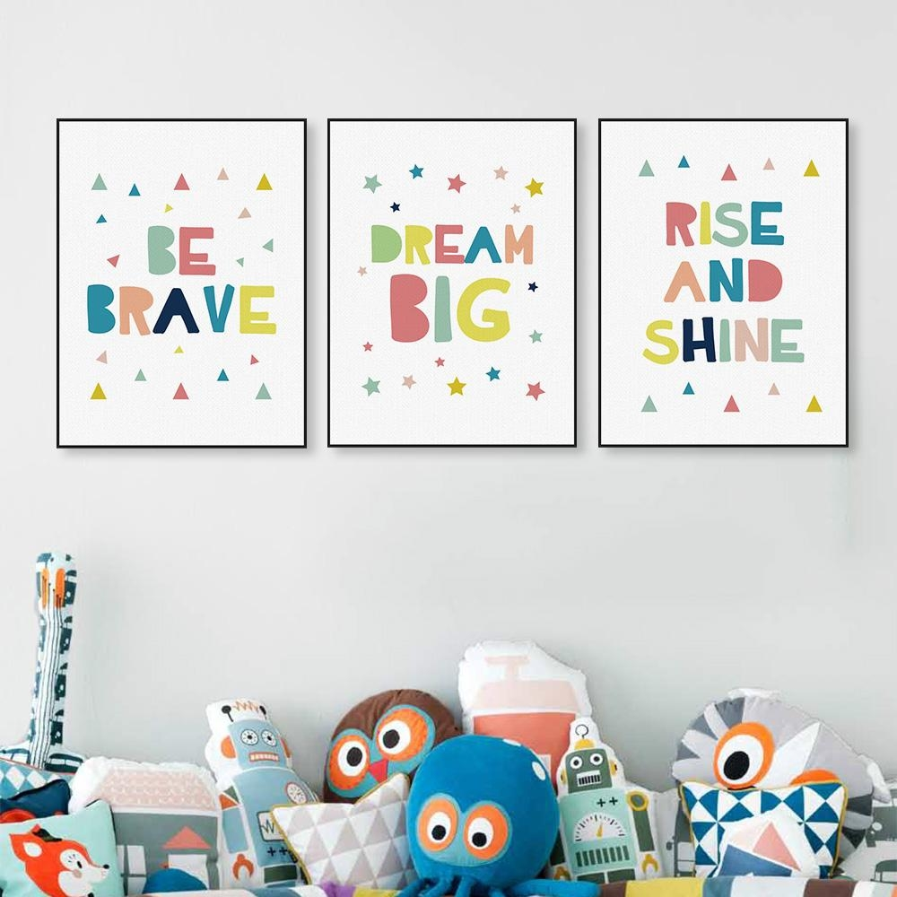 Aliexpress : Buy Modern Minimalist Motivation Quotes Canvas With Regard To Kids Canvas Wall Art (View 3 of 20)