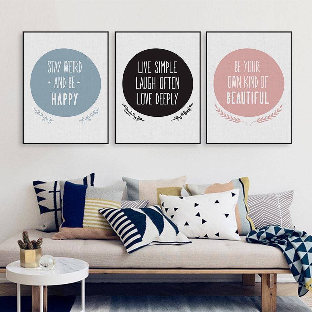 Aliexpress : Buy Modern Nordic Minimalist Beautiful Love Pertaining To Typography Canvas Wall Art (Image 7 of 20)