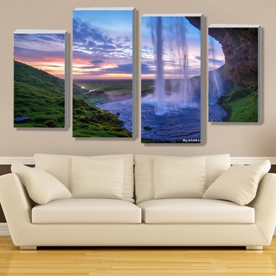 Aliexpress : Buy Modular Waterfall Wall Art Painting Iceland Inside Cheap Modern Wall Art (Image 3 of 20)