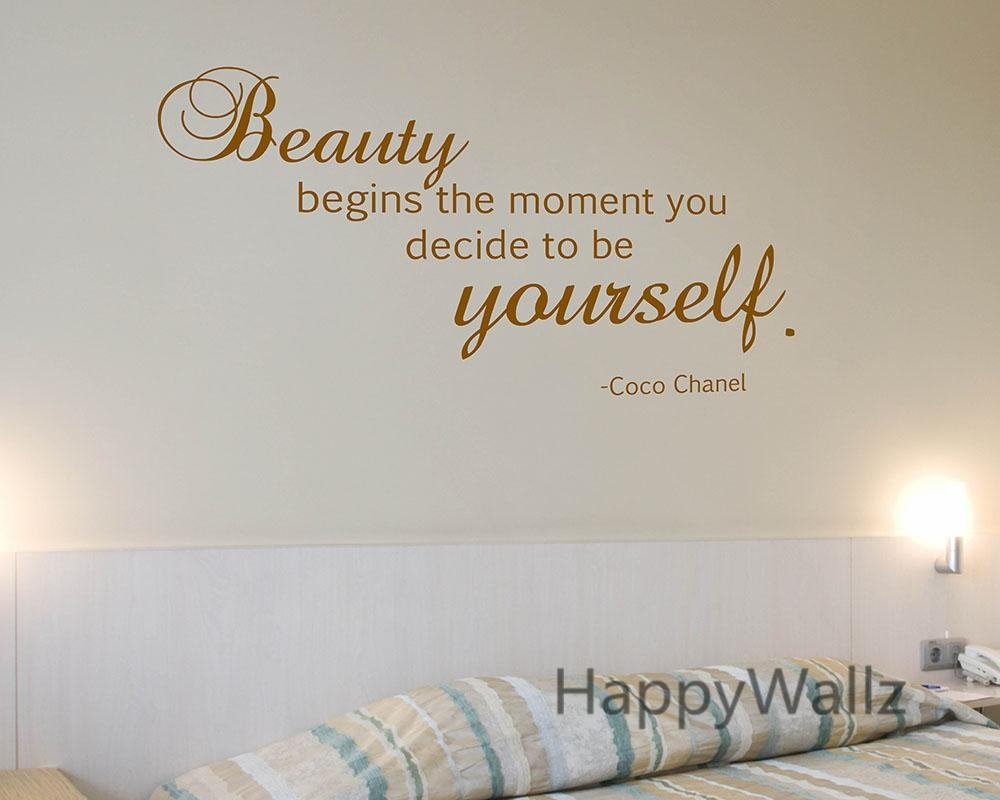 Aliexpress : Buy Motivational Quote Wall Sticker Beauty Begins Within Coco Chanel Wall Decals (View 12 of 20)