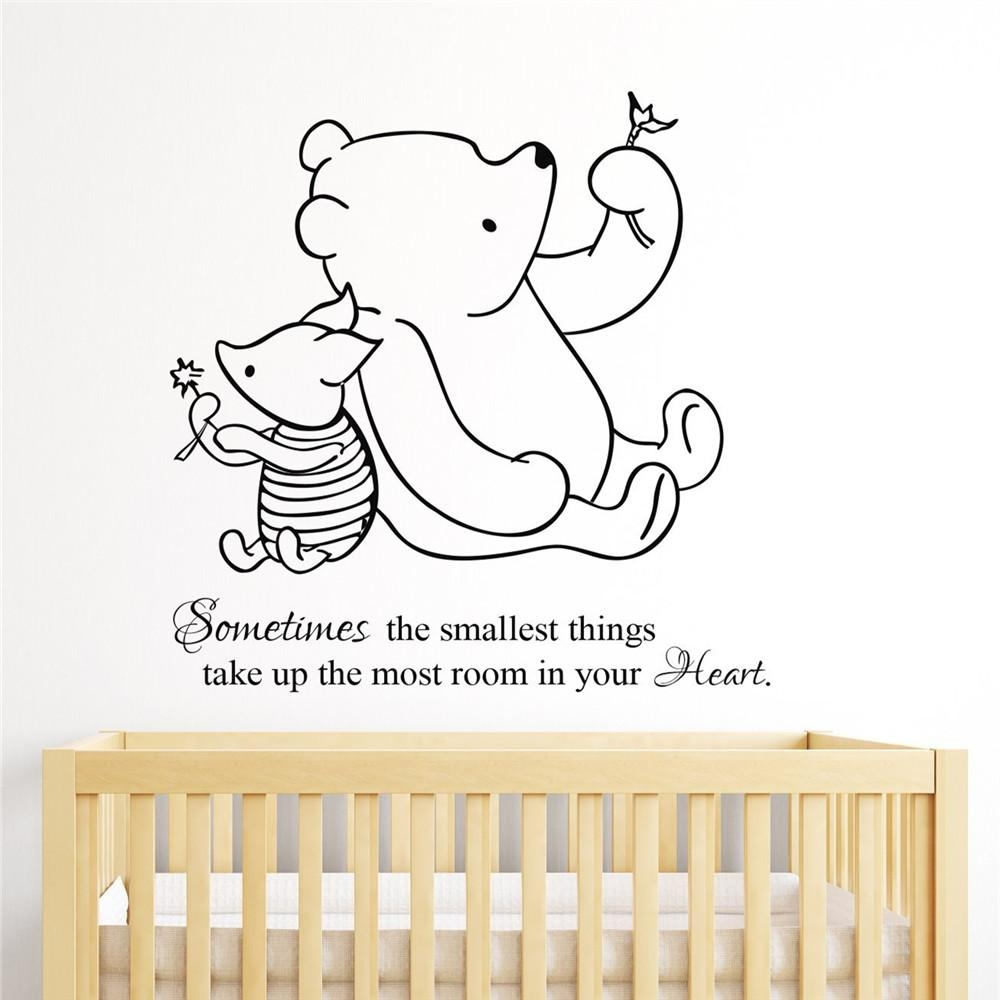 Aliexpress : Buy Multicolor Winnie The Pooh & Piglet Home For Winnie The Pooh Nursery Quotes Wall Art (Image 2 of 20)