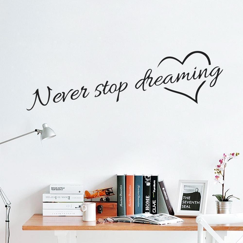 Aliexpress : Buy Never Stop Dreaming Inspirational Quotes Wall Inside Inspirational Sayings Wall Art (View 17 of 20)
