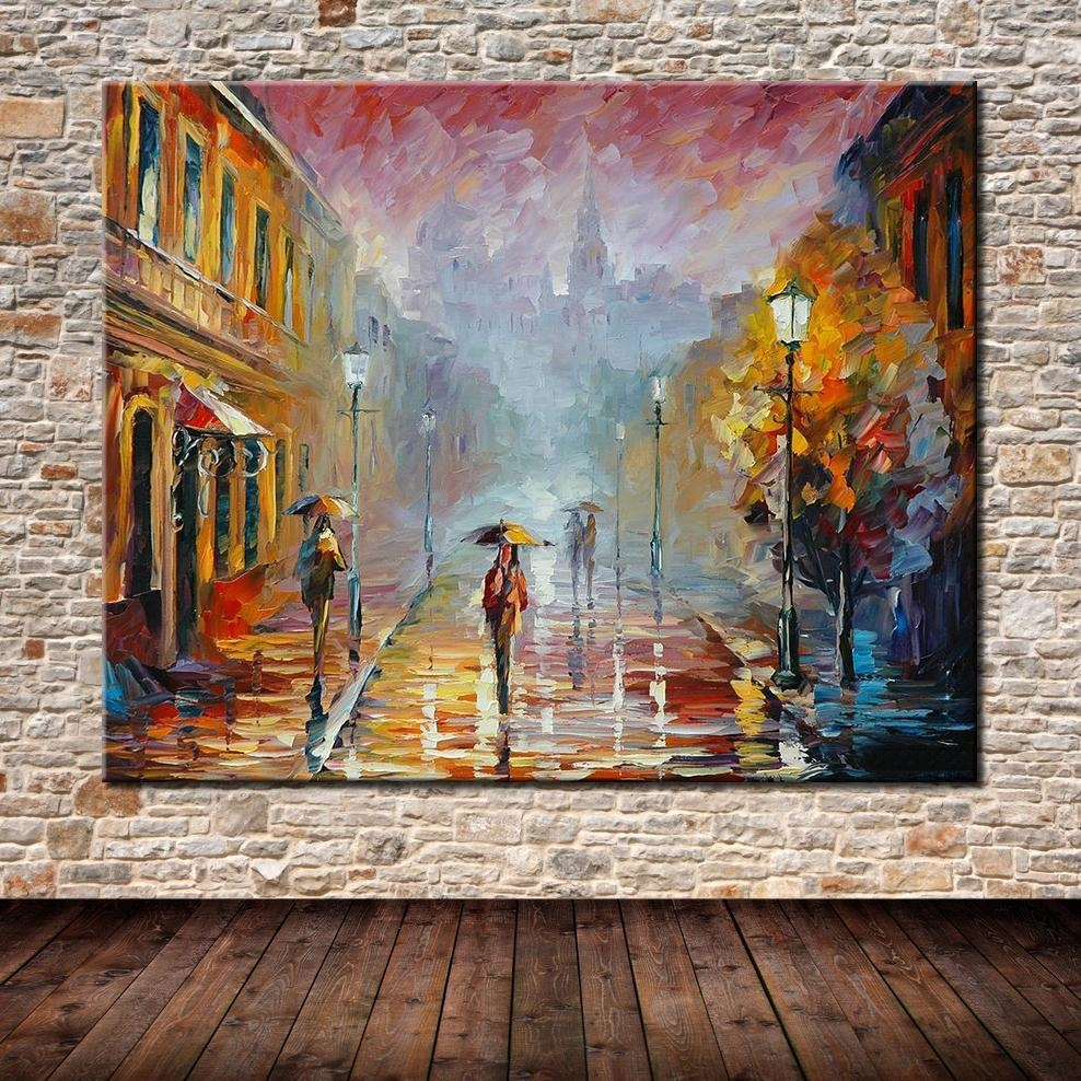 Aliexpress : Buy No Framed Handpainted Modern Abstract Palette Regarding Street Scene Wall Art (Image 1 of 20)
