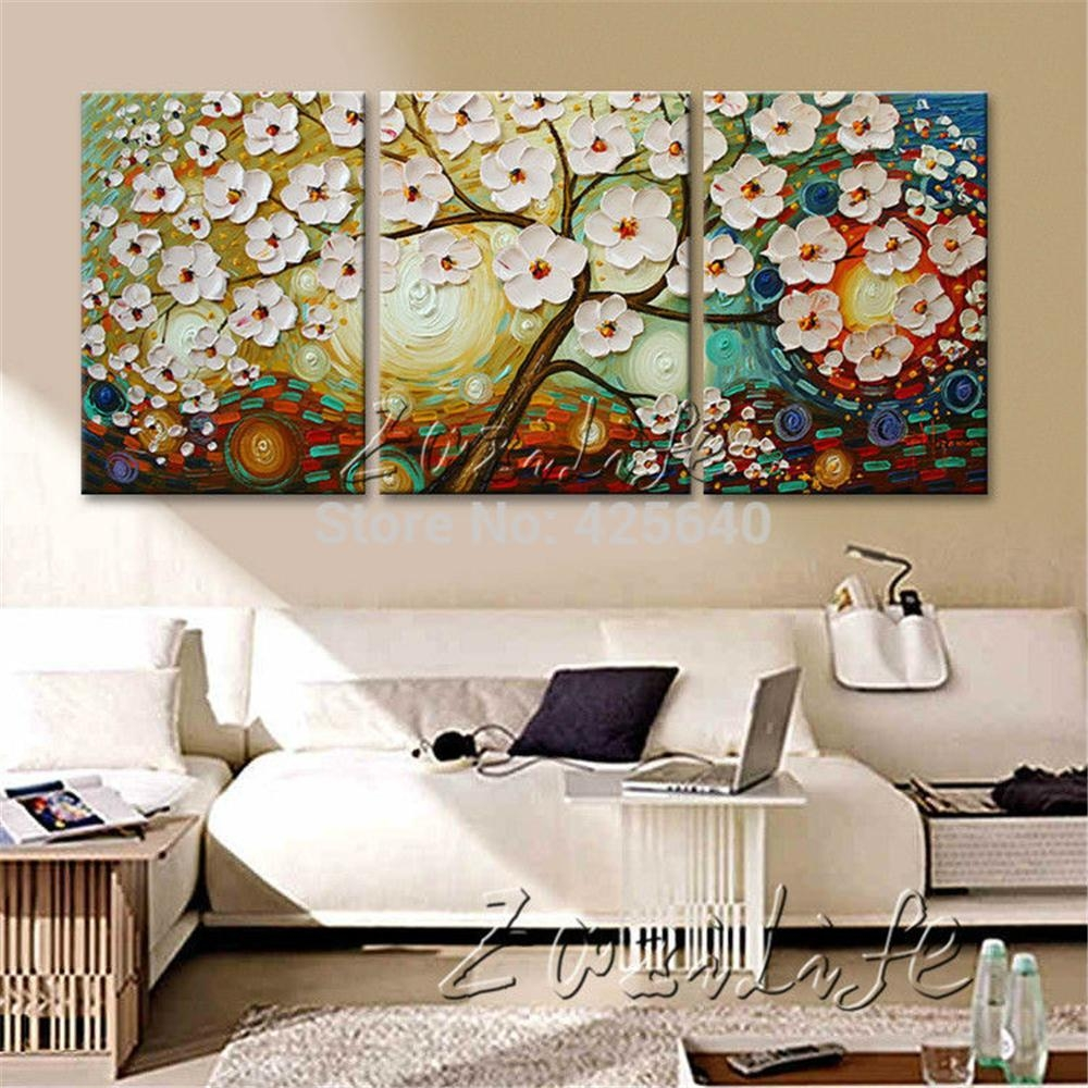 Aliexpress : Buy Oil Painting 3 Panel 3 Piece Canvas Cuadros Pertaining To 3 Set Canvas Wall Art (View 16 of 20)