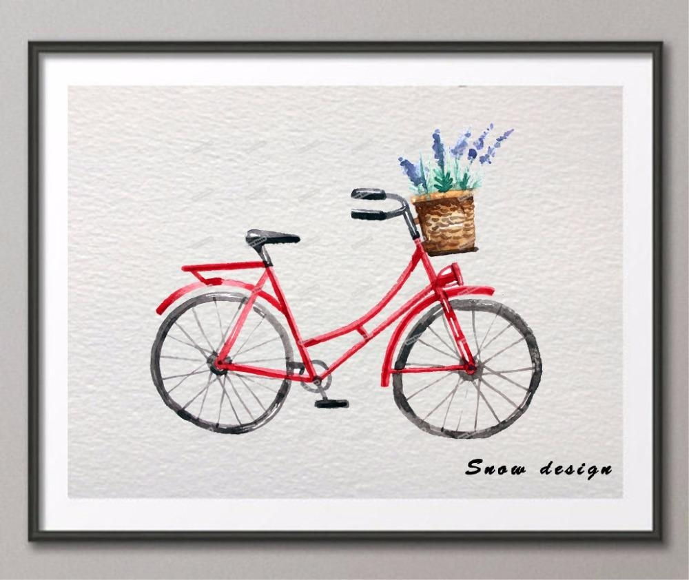 Aliexpress : Buy Original Watercolor Bicycle Adventure Wall With Bike Wall Art (Image 2 of 20)