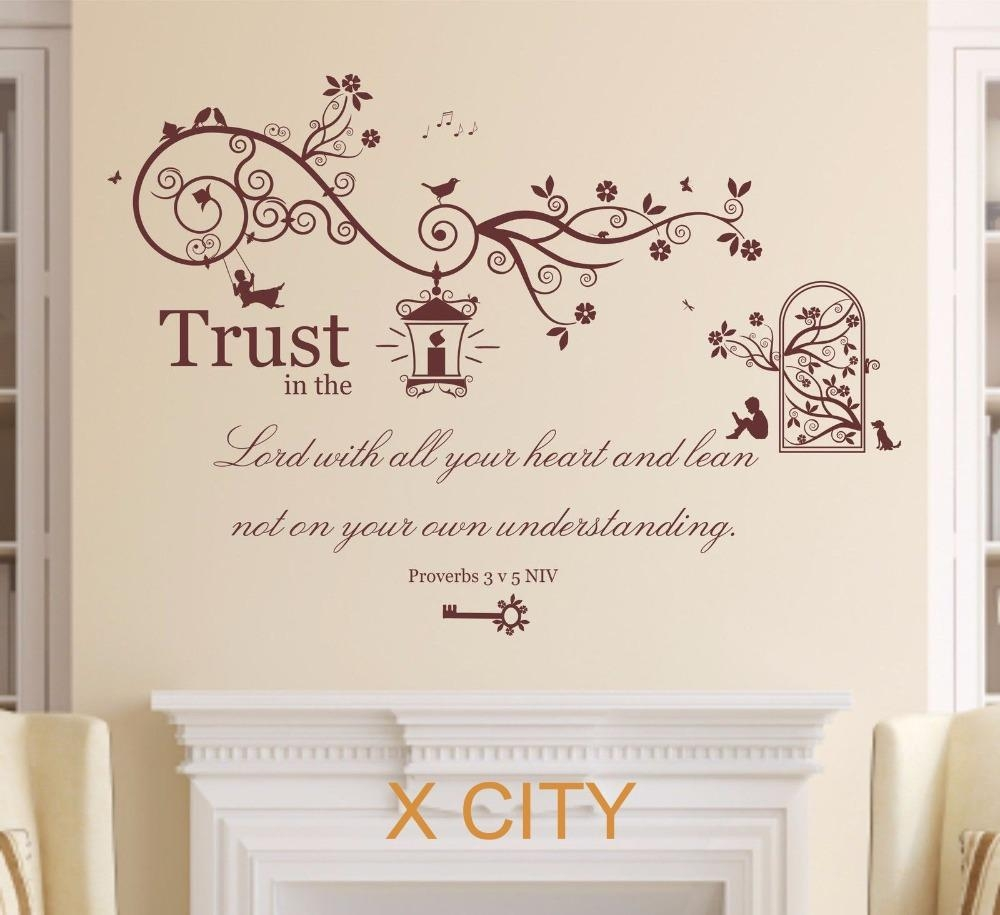Aliexpress : Buy Proverbs 3 V 5 Bible Quote Verse Christian With Regard To Large Christian Wall Art (Image 2 of 20)