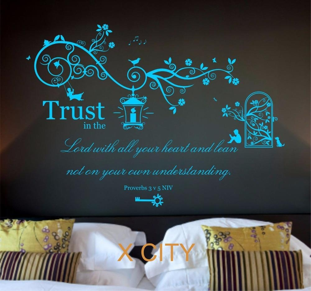 Aliexpress : Buy Proverbs 3 V 5 Bible Quote Verse Christian Within Large Christian Wall Art (View 3 of 20)