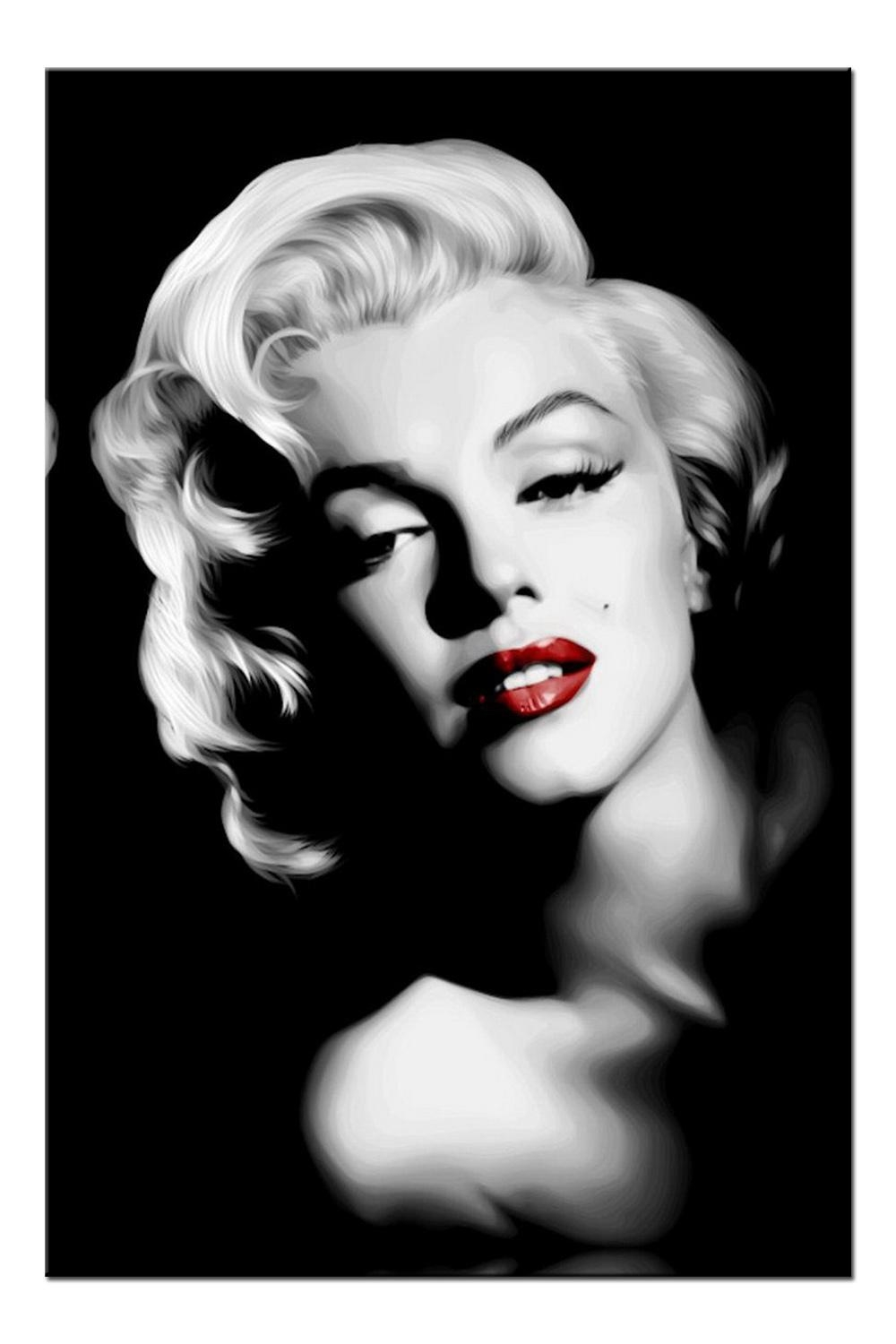 Aliexpress : Buy R704 Sexy Lips Marilyn Monroe, Large Hd With Regard To Marilyn Monroe Black And White Wall Art (Image 3 of 20)
