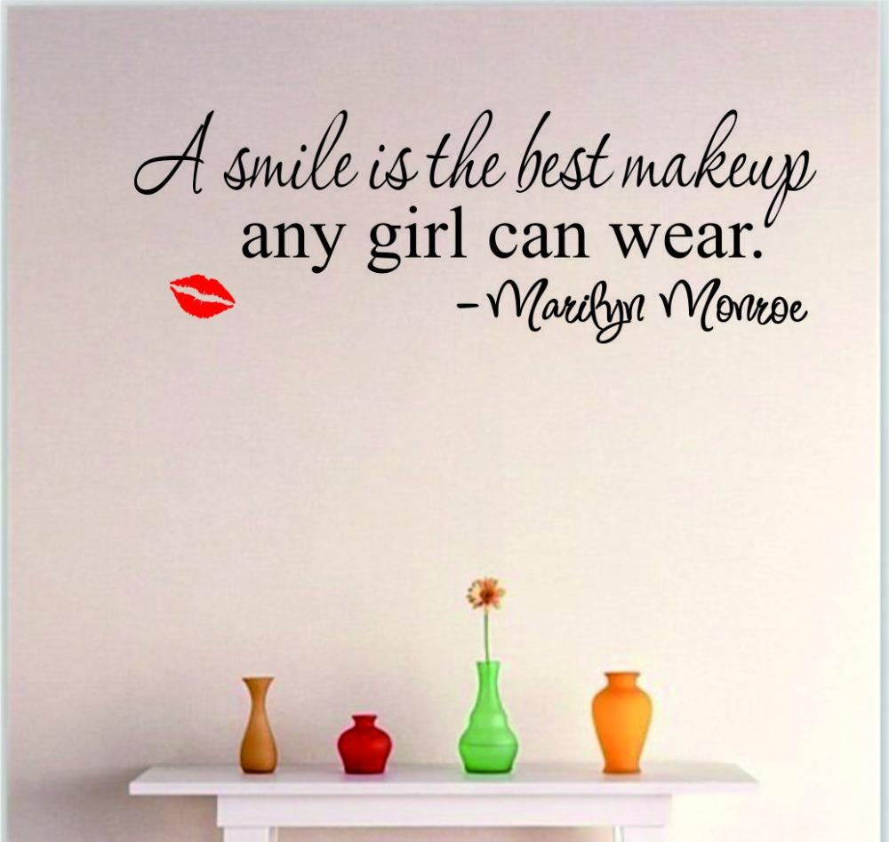 Aliexpress : Buy Smile Makeup Marilyn Monroe Quote Vinyl Wall Throughout Marilyn Monroe Wall Art Quotes (View 11 of 20)