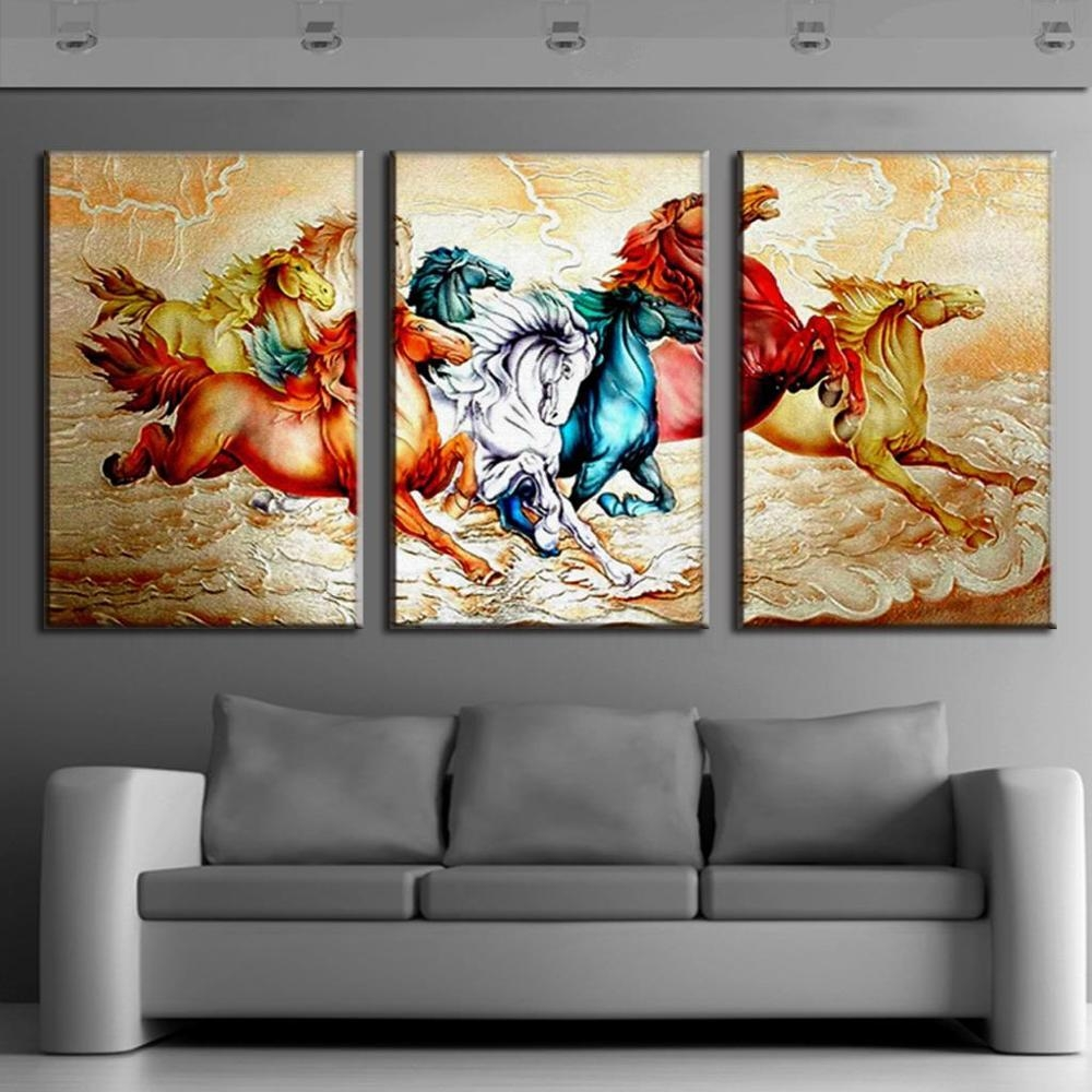 Aliexpress : Buy Tradictional Chinese 3 Pieces Unframed Animal Regarding Electronic Wall Art (Image 3 of 20)