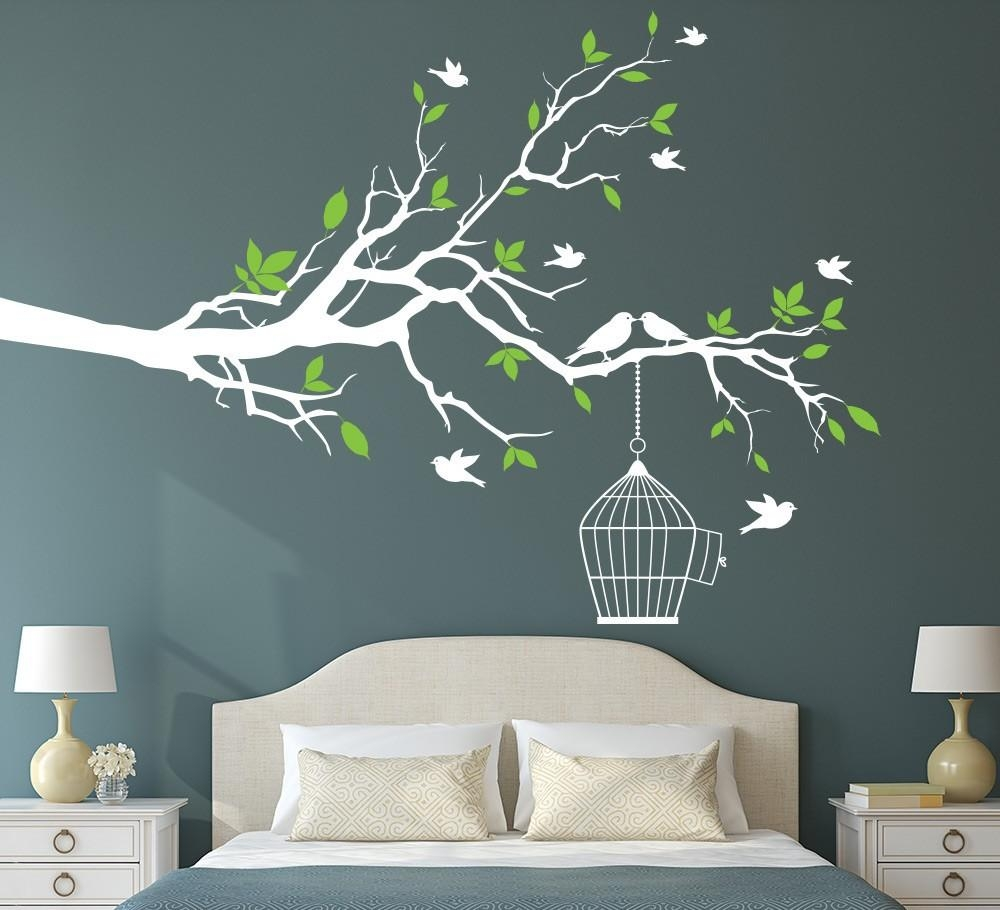 Aliexpress : Buy Tree Branch With Bird Cage Wall Art Sticker Regarding Vinyl Wall Art Tree (Image 1 of 20)