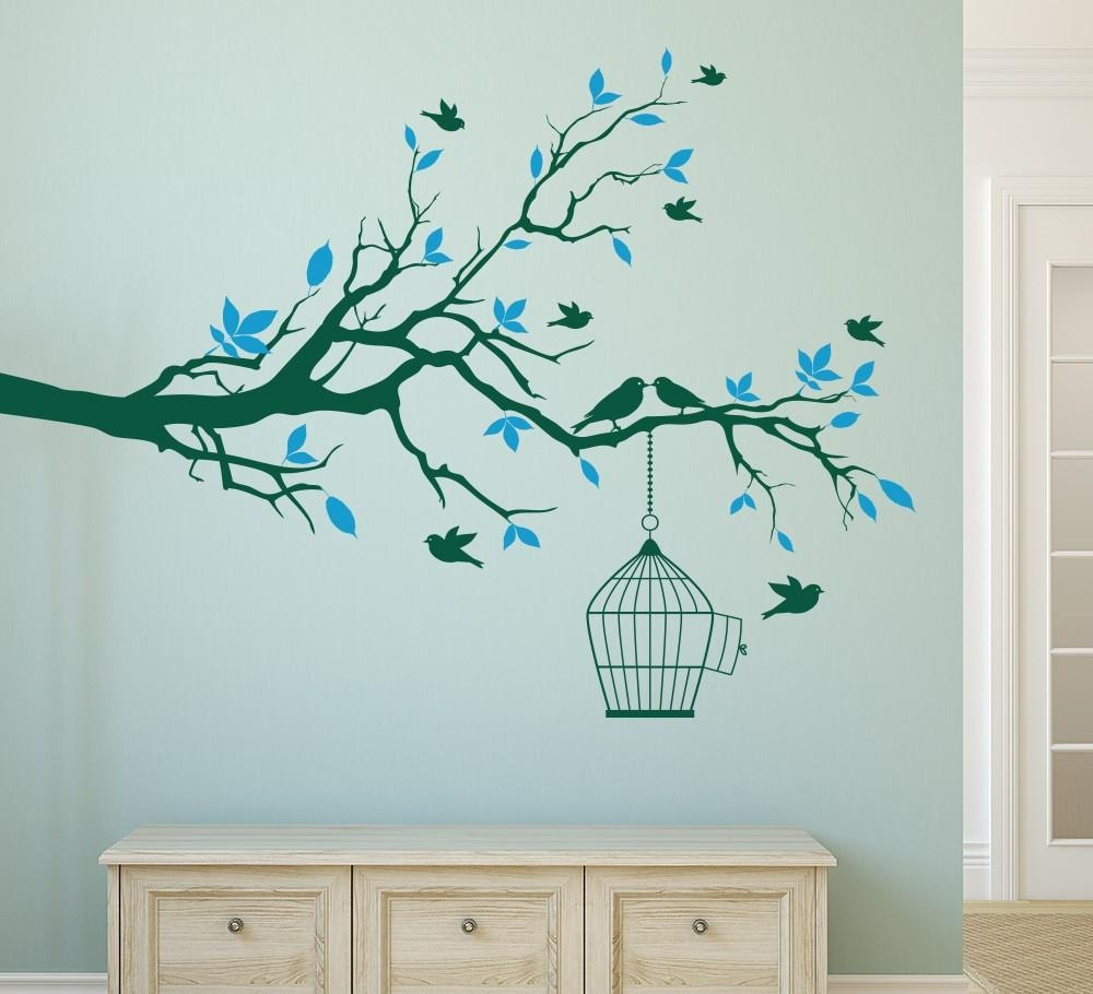 Aliexpress : Buy Tree Branch With Bird Cage Wall Art Sticker With Regard To Tree Branch Wall Art (Image 1 of 20)