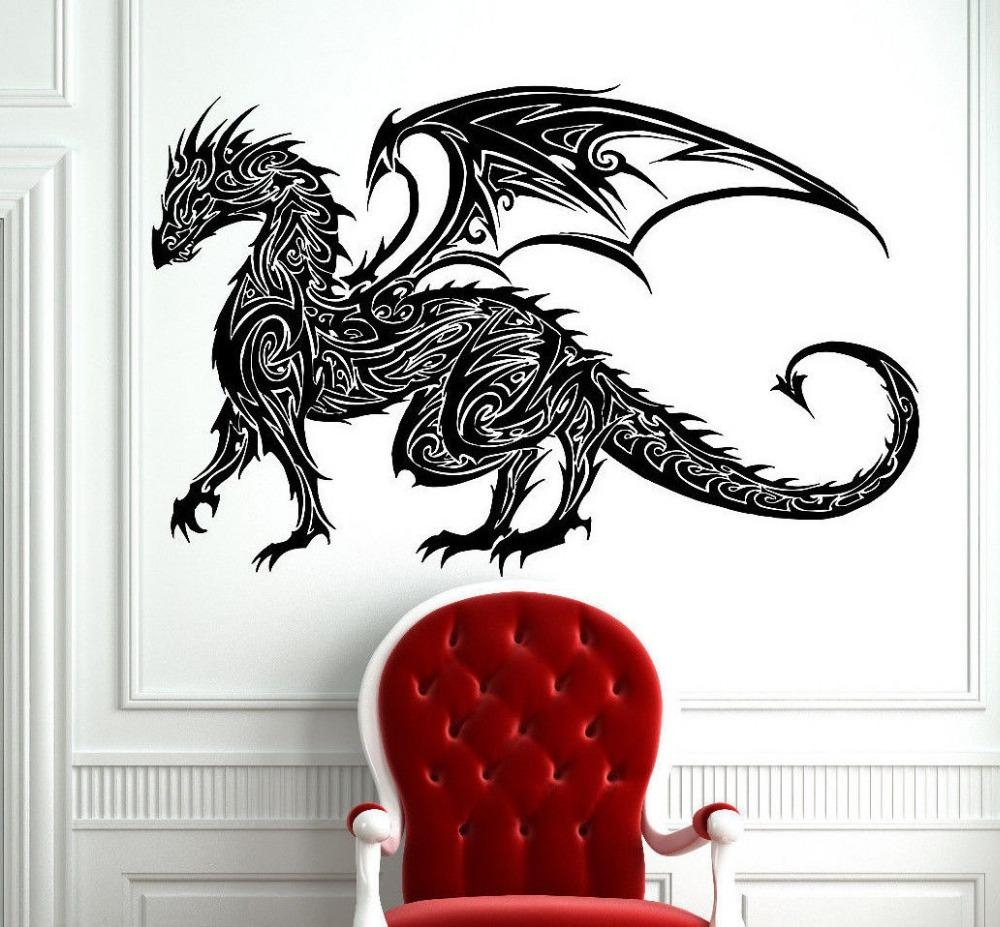 Aliexpress : Buy Tribal Tattoo Classic Chinese Dragon Wall With Regard To Tattoos Wall Art (Image 4 of 20)