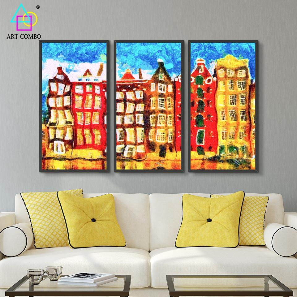 Aliexpress : Buy Triptych Artwork Oil Painting Amsterdam With Regard To Triptych Art For Sale (Image 2 of 20)