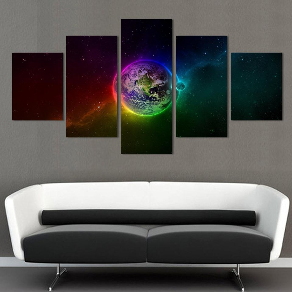 Aliexpress : Buy Unframed Printed Planets Outer Space 5 Piece Within Outer Space Wall Art (View 3 of 20)
