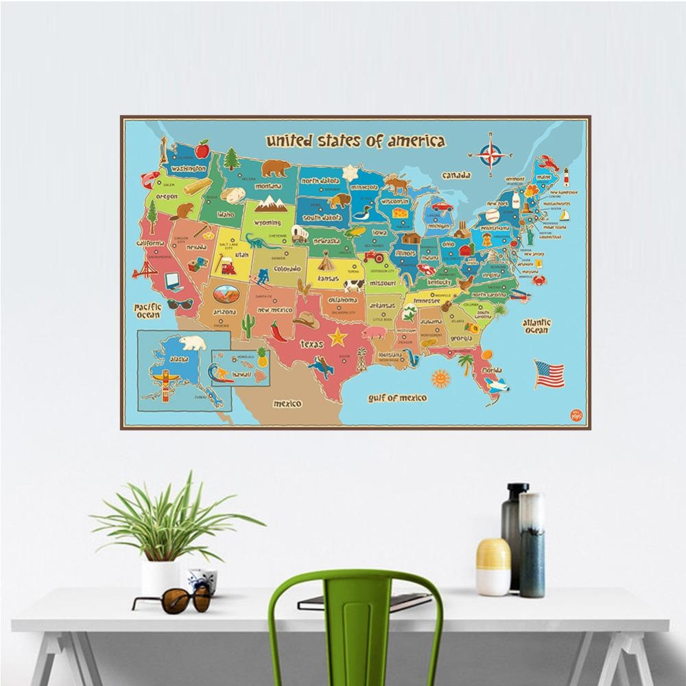 Aliexpress : Buy United State Map Wall Decor Colorful America With Regard To United States Map Wall Art (Image 2 of 21)