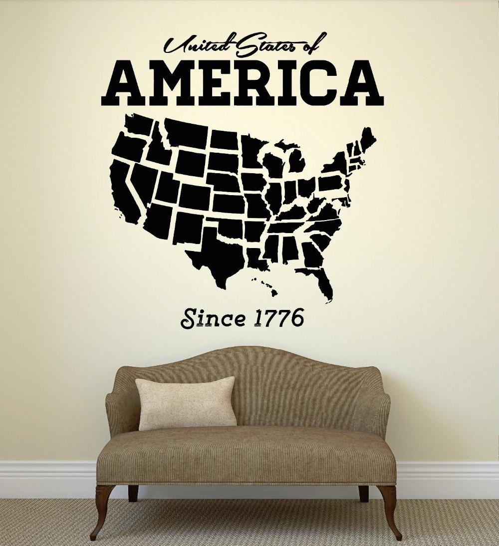 Aliexpress : Buy Usa Map Wall Sticker United States Of America Intended For United States Map Wall Art (Image 3 of 21)