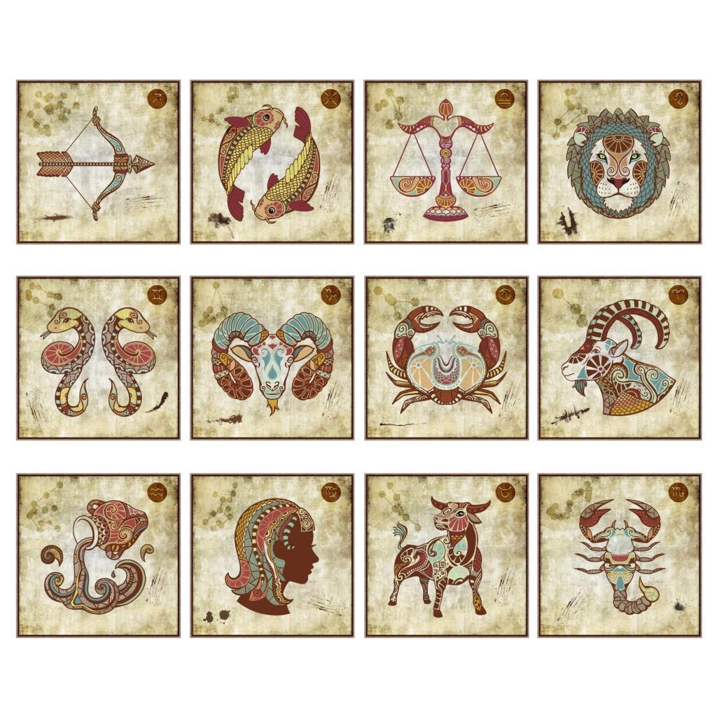 Aliexpress : Buy Vintage Retro Zodiac Set Birthday Gift A4 Within Shabby Chic Canvas Wall Art (Image 1 of 20)