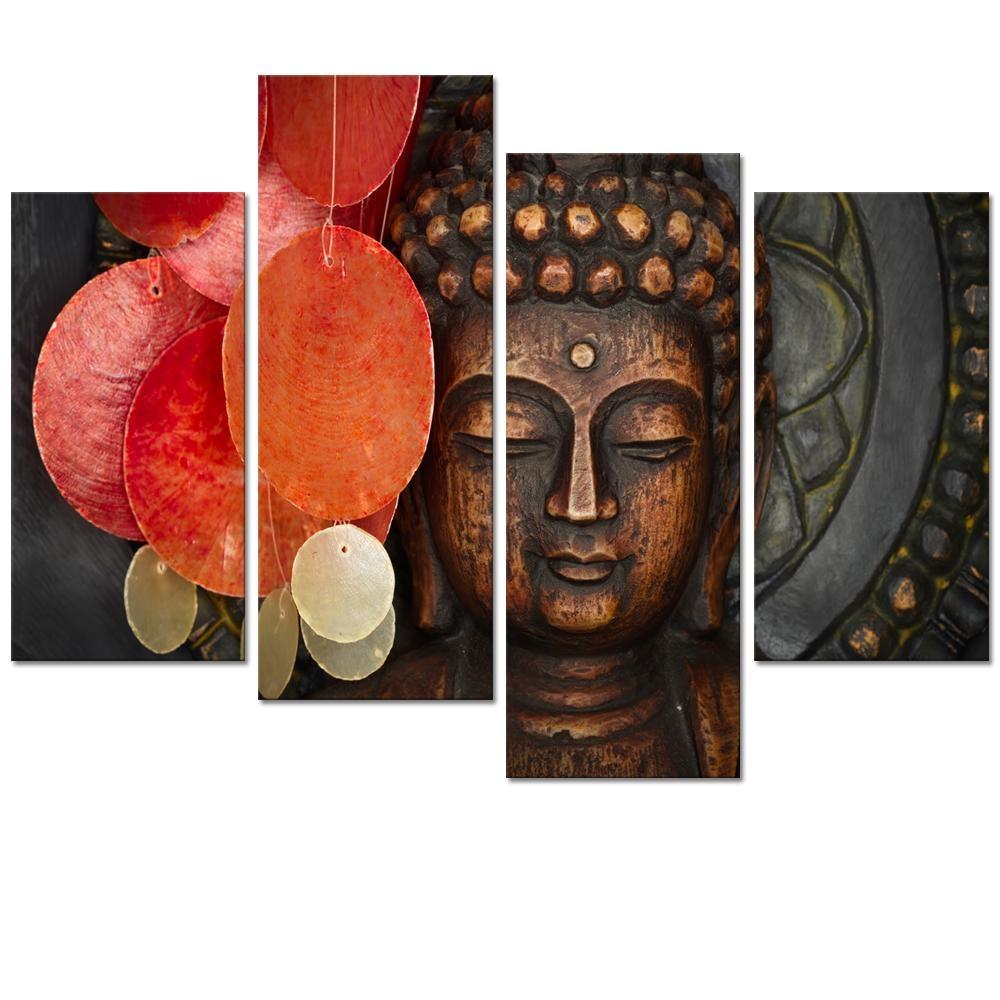 Aliexpress : Buy Visual Art Decor Large Buddha Painting Prints In Buddha Wood Wall Art (Image 1 of 20)