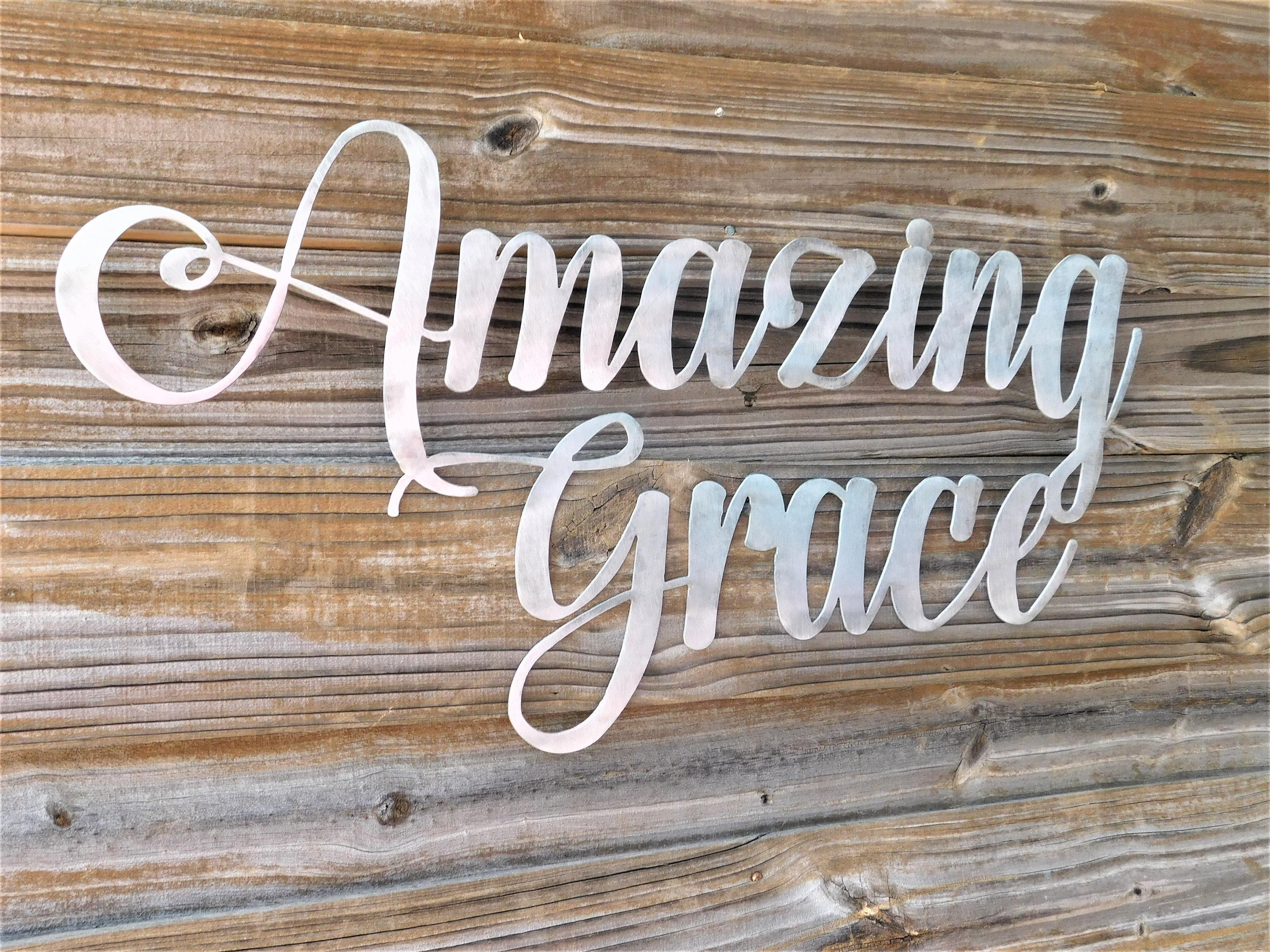 Amazing Grace Sign, Amazing Grace Wall Art, Bible Verse Wall Art With Regard To Grace Wall Art (View 14 of 20)