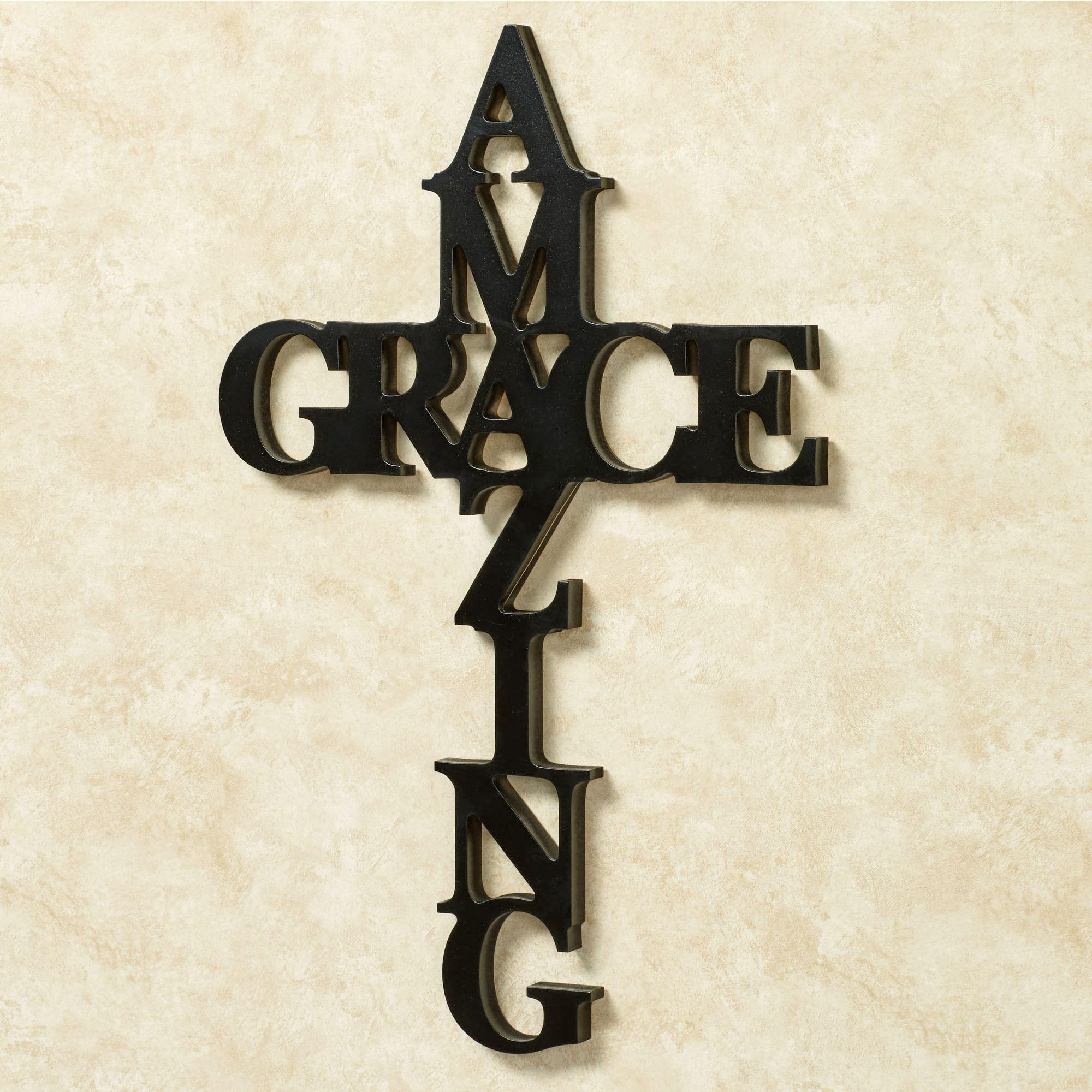 Amazing Grace Word Cross Wall Art Inside Grace Wall Art (View 5 of 20)