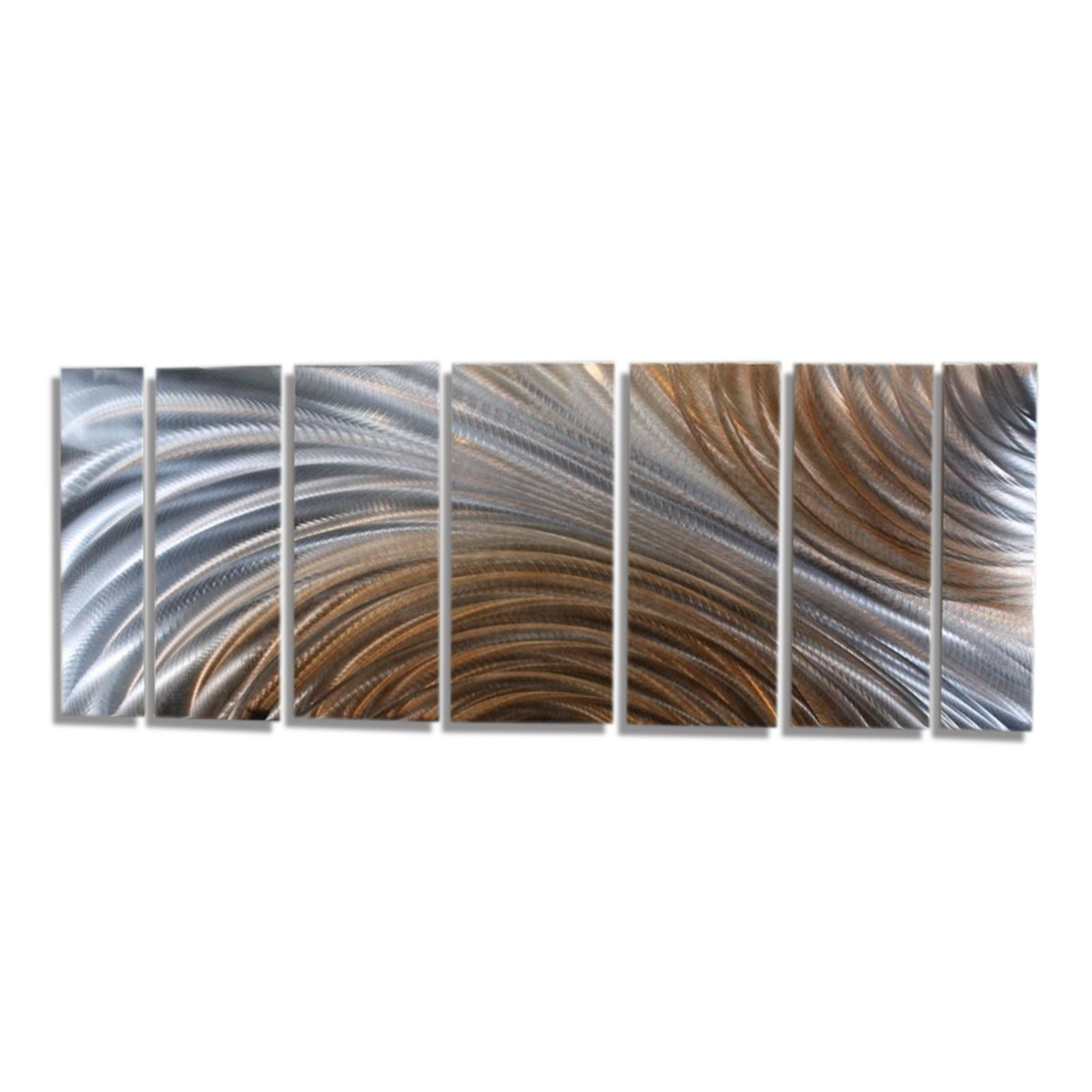 Amber Ascension Xl – Extra Large Silver & Copper Abstract Metal Inside Large Abstract Metal Wall Art (Image 3 of 20)