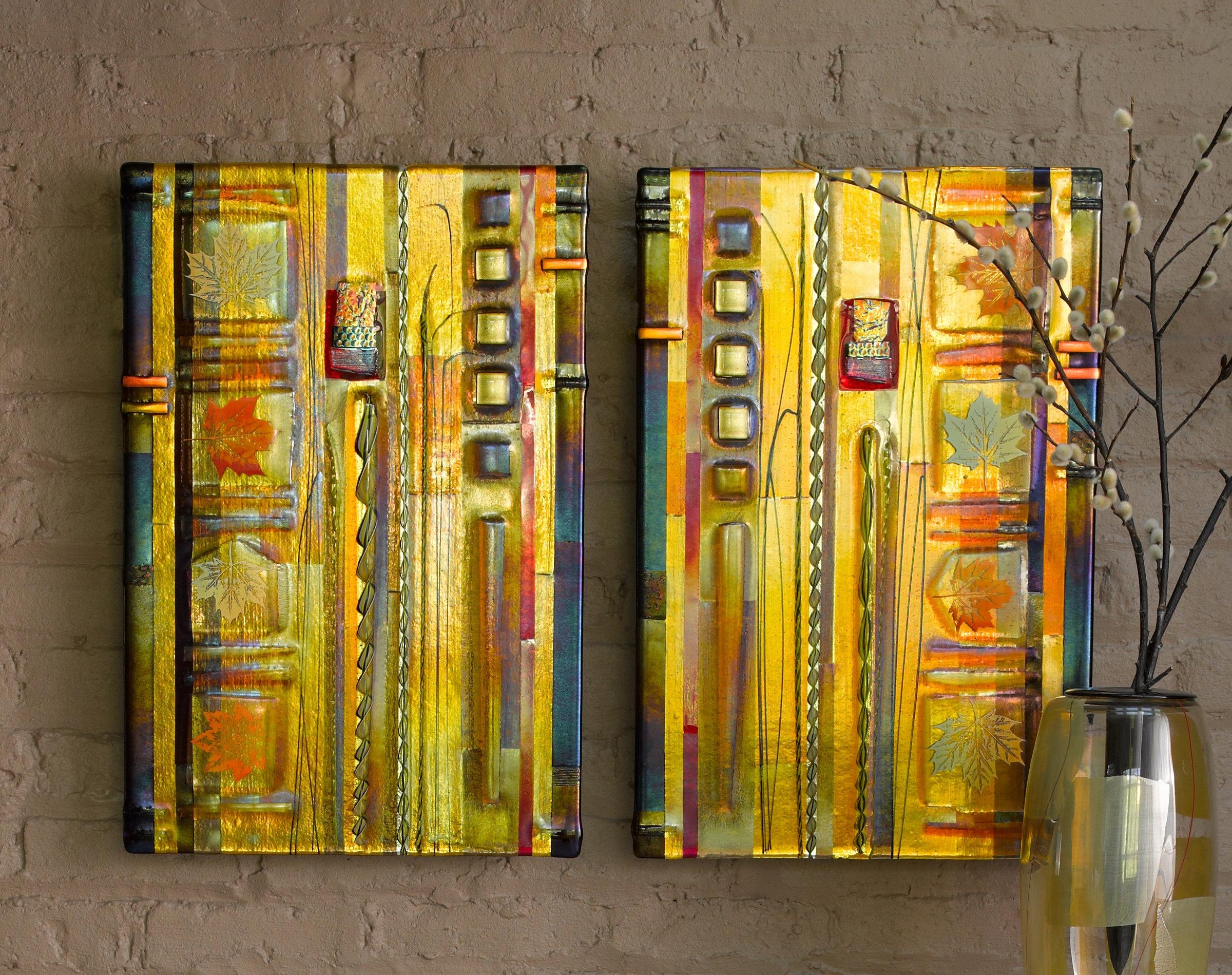 Amber Leaf Panelsmark Ditzler (Art Glass Wall Art) | Artful Home Pertaining To Fused Glass Wall Art Panels (View 3 of 20)