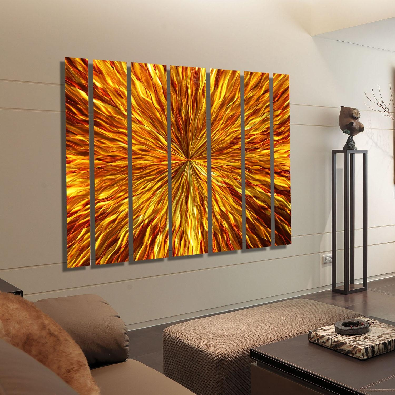 Amber Vortex Xl – Extra Large Modern Metal Wall Artjon Allen With Regard To Large Abstract Metal Wall Art (Image 5 of 20)
