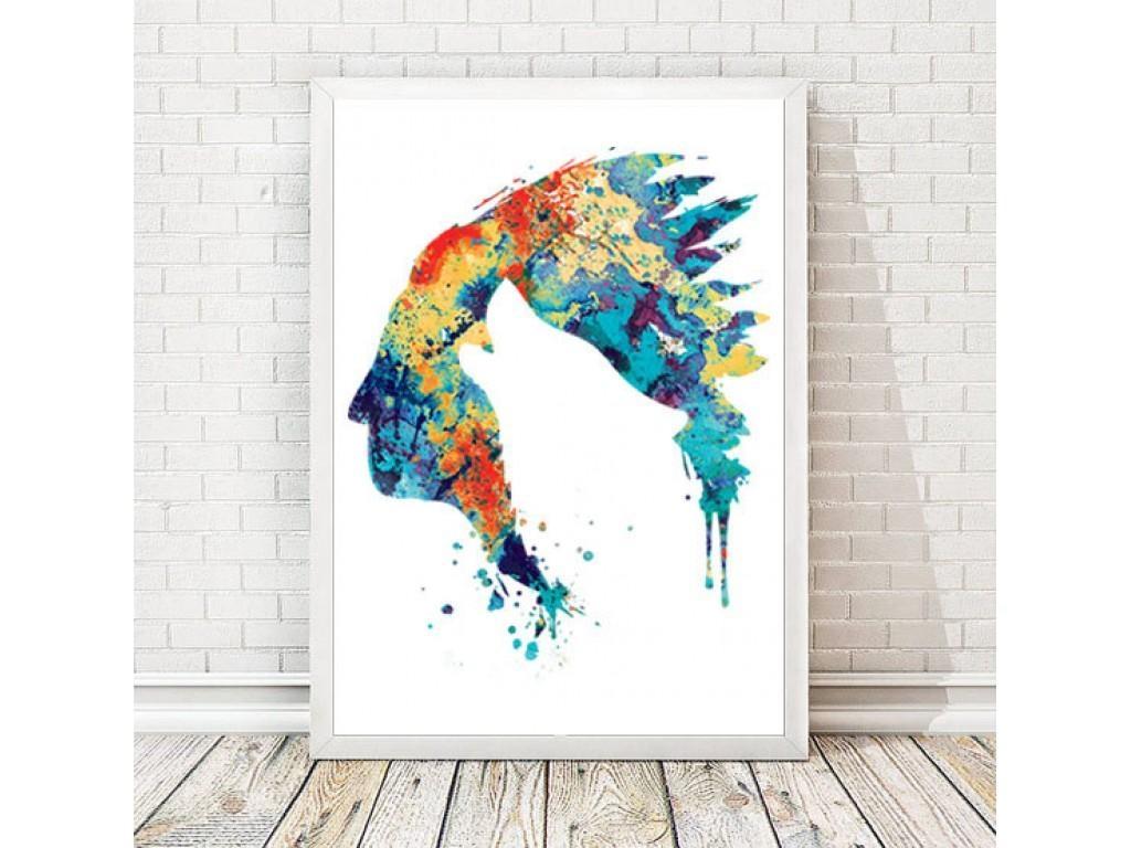 American Watercolor Indian Art Print Wolf Poster Wolf Painting For Native American Wall Art (Image 2 of 20)