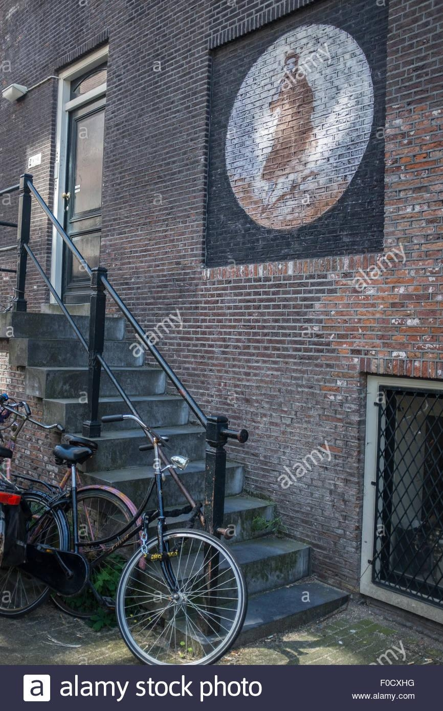 Amsterdam Streetscene With Wall Art And Bicycle Stock Photo With Street Scene Wall Art (Image 2 of 20)