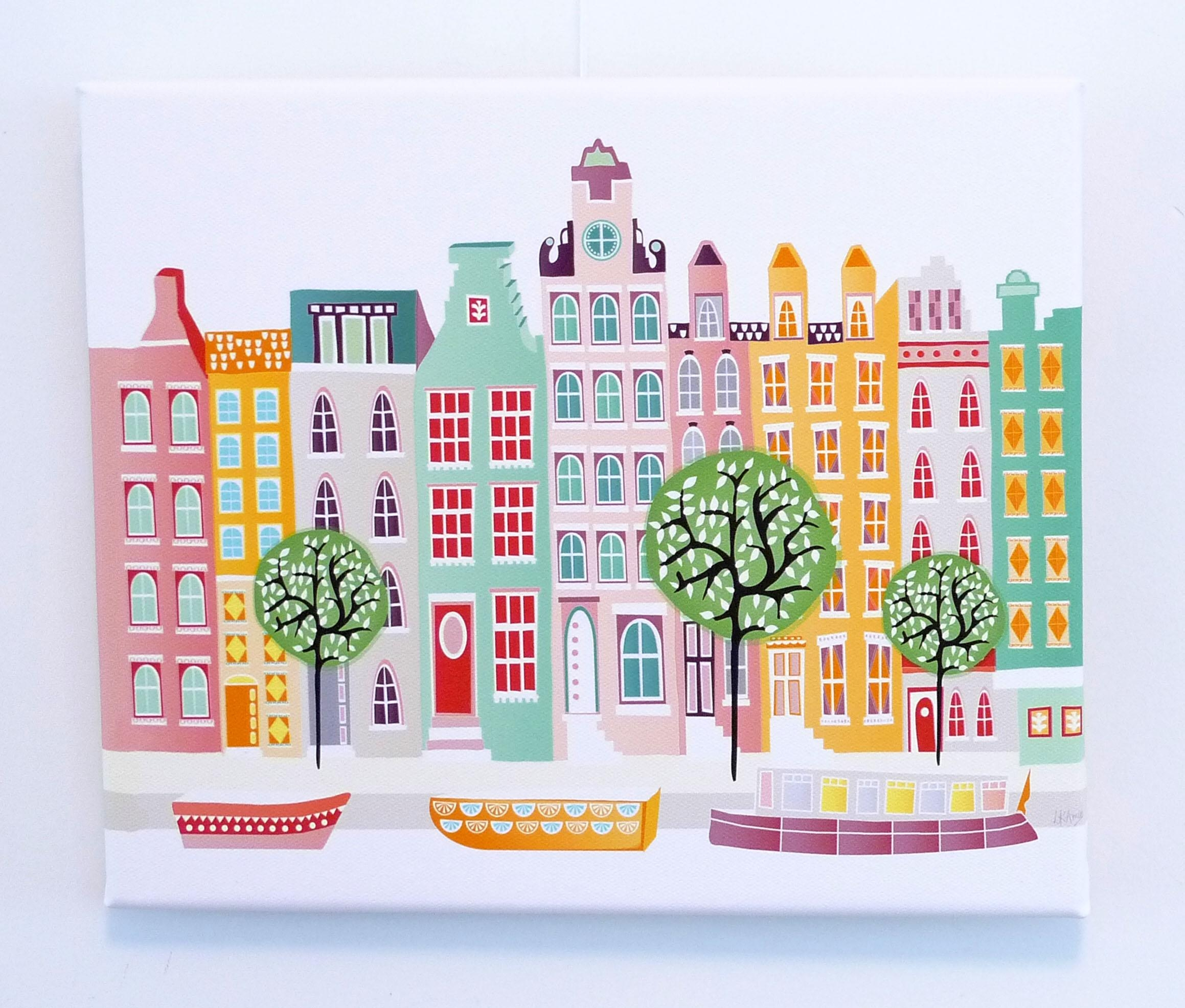 Amsterdam Wall Art, Canal Houses, Wall Art Canvas Print Framed Throughout Cityscape Canvas Wall Art (View 17 of 20)