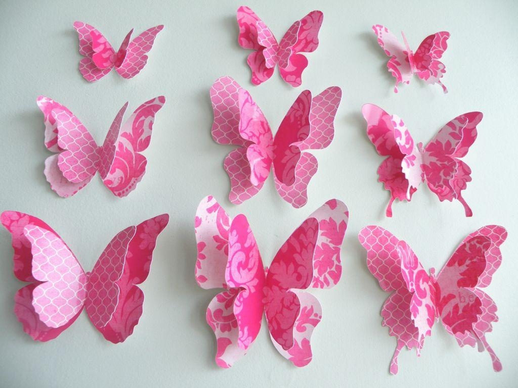 Amusing 3D Design Pink Butterfly Paper Wall Art Decor Ideas Paper Pertaining To Pink Butterfly Wall Art (View 10 of 20)