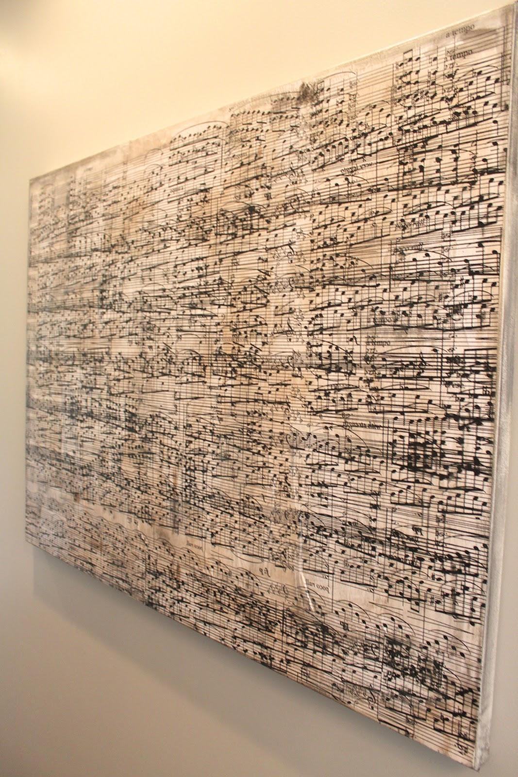 Amy's Casablanca: Diy Sheet Music Artwork Regarding Music Note Wall Art Decor (Image 1 of 20)