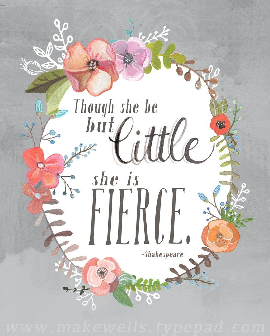 And Though She Be But Little She Is Fierce Shakespeare Art Pertaining To Shakespeare Wall Art (Image 1 of 20)