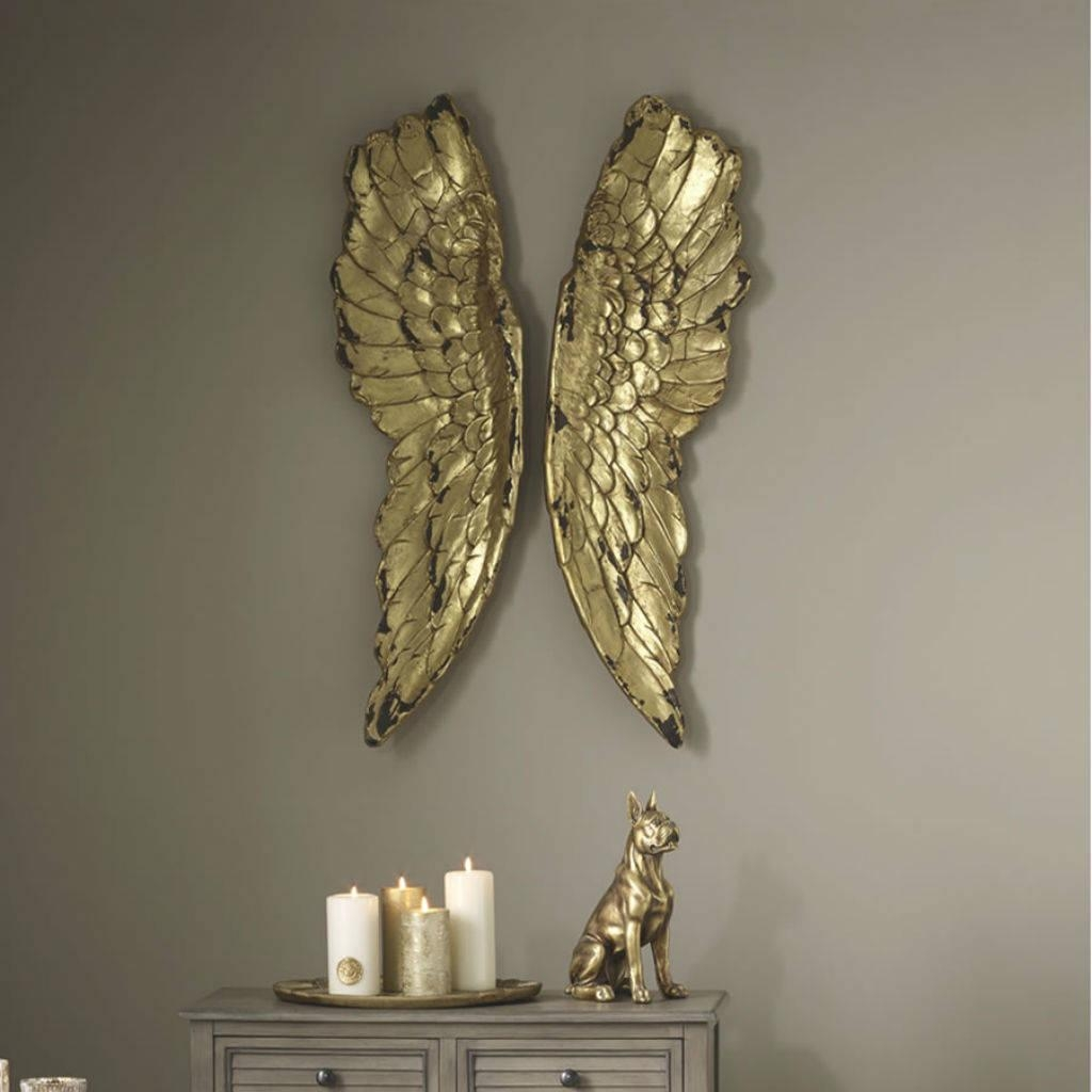 Angel Wings Large Antiqued Grey Silver Or Gold Wall Artcowshed With Regard To Silver And Gold Wall Art (View 12 of 20)