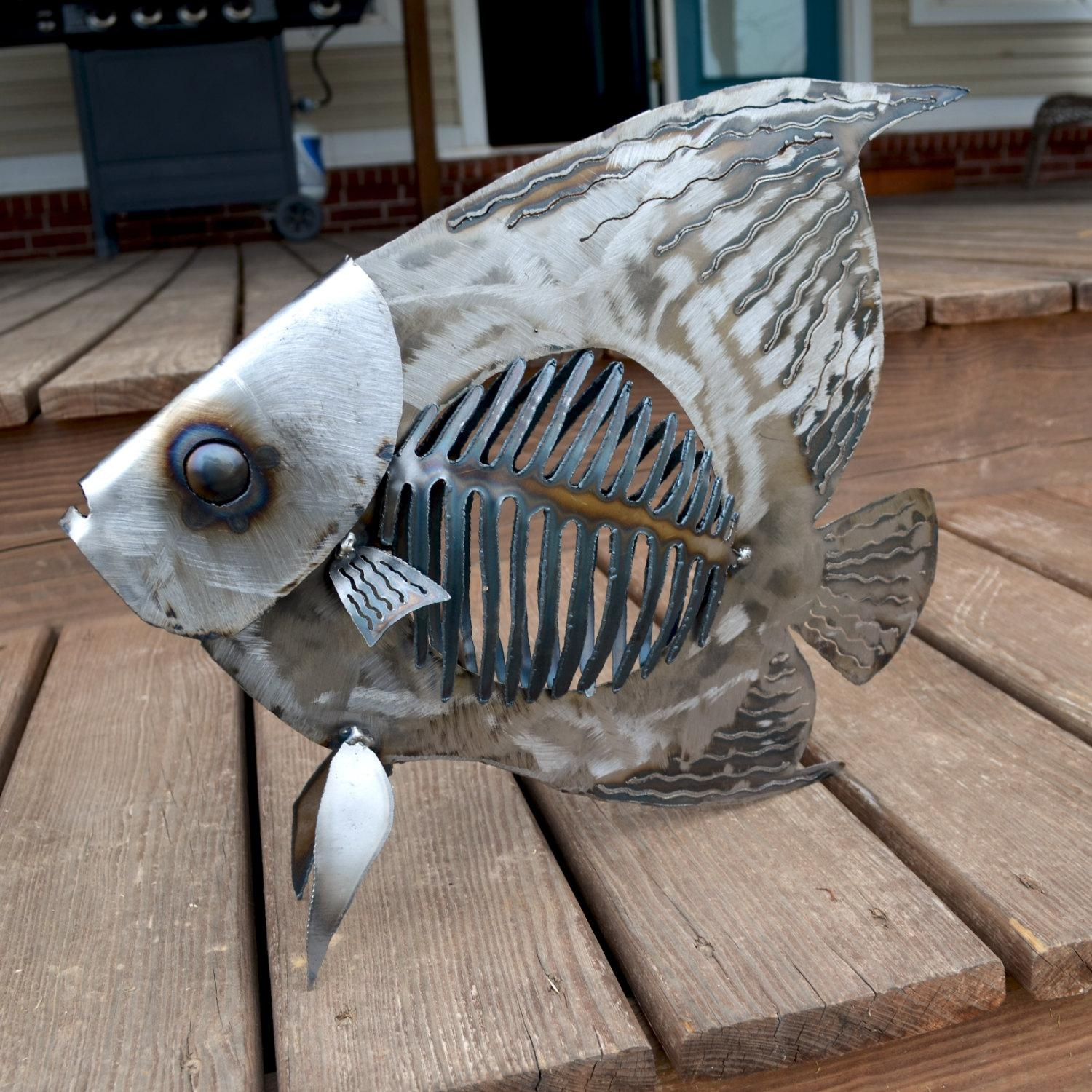 Angelfish Sculpture Metal Angelfish Nautical Themed Art Throughout Fish Bone Wall Art (View 6 of 20)