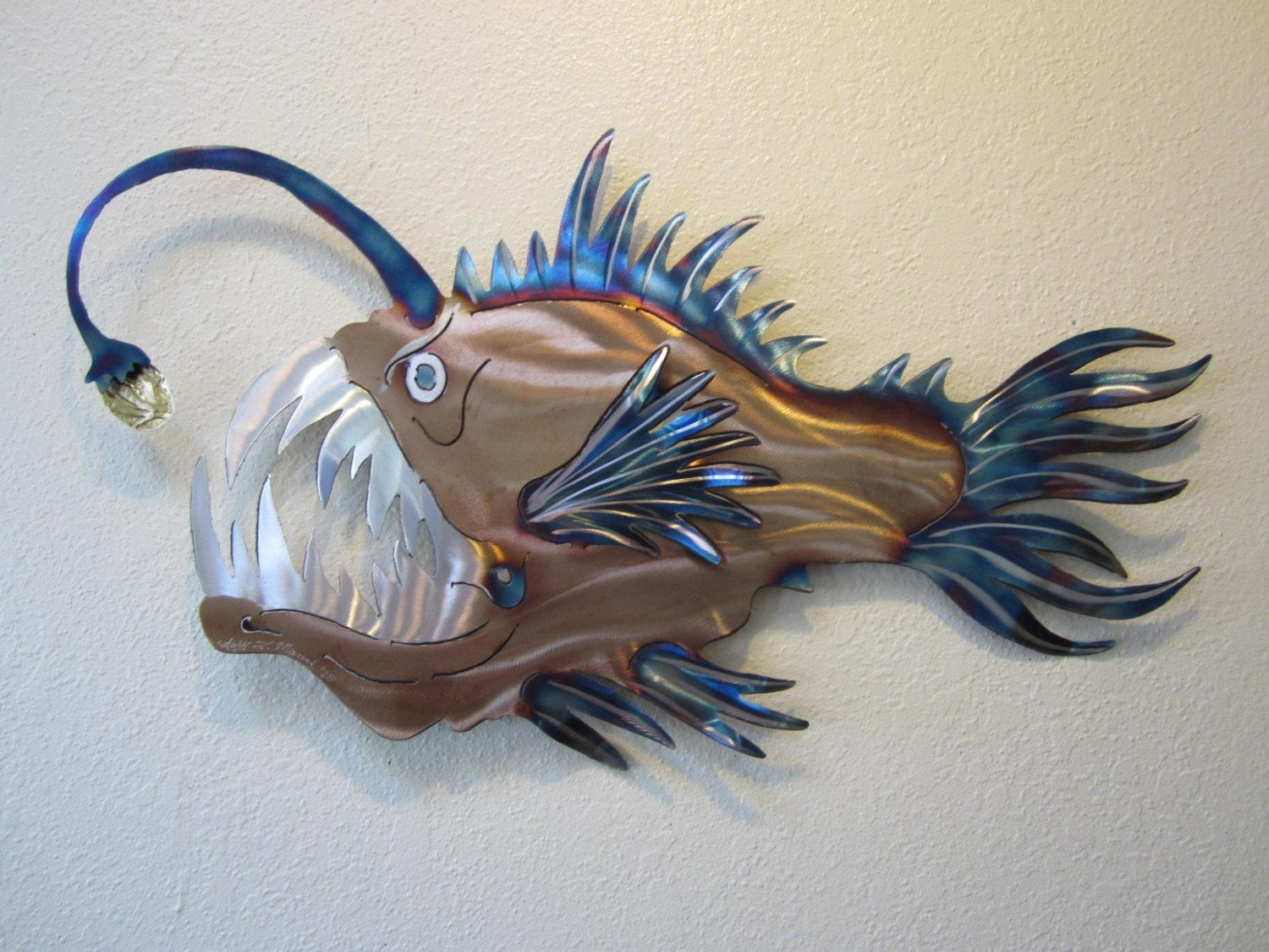 Anglerfish Angler Fish Deep Sea Ocean Metal Wall Art Stainless For Stainless Steel Fish Wall Art (Image 6 of 20)
