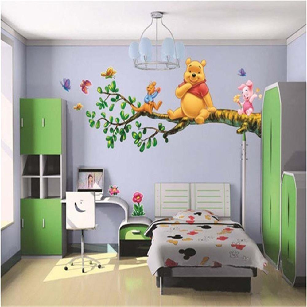 Animal Cartoon Winnie Pooh Vinyl Wall Stickers For Kids Rooms Boys In Winnie The Pooh Wall Decor (Image 3 of 20)