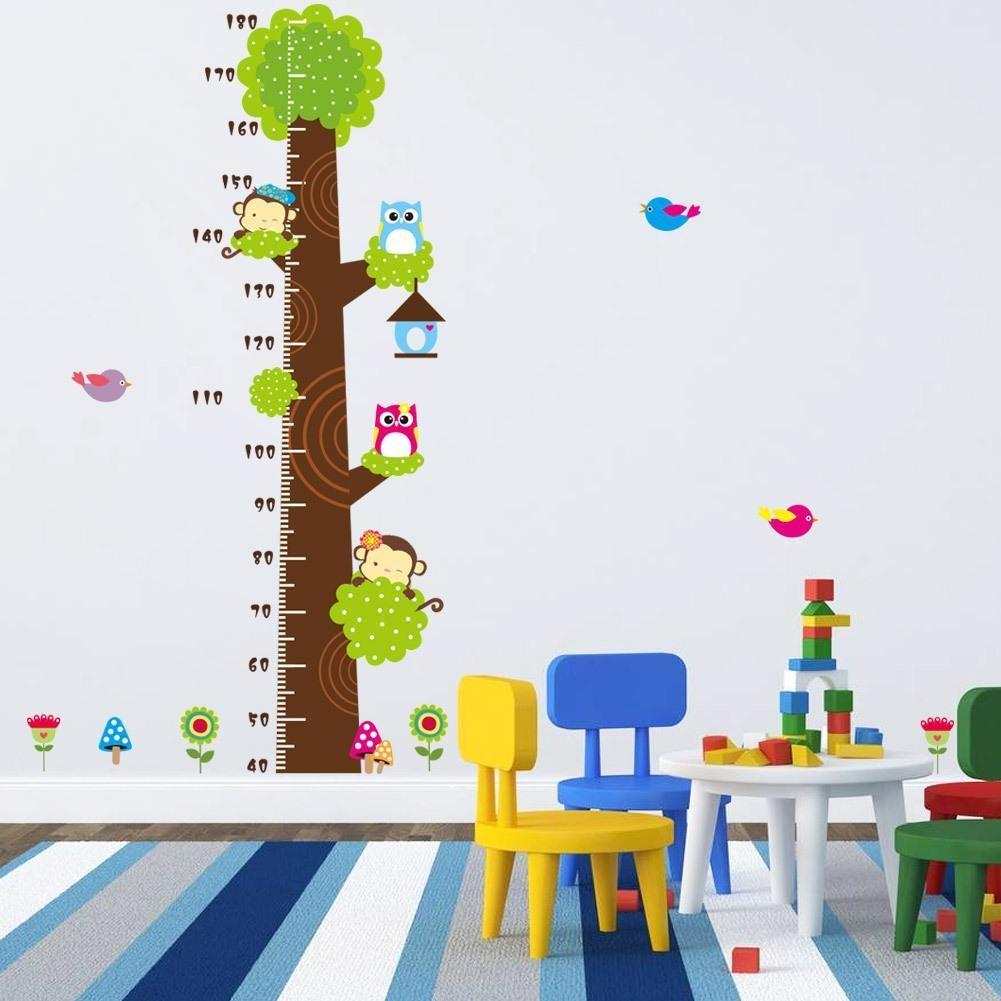 Animals Height Chart Decal Childrenu0027s Room Baby Nursery Cartoon Inside Children  Wall Art (Image 1